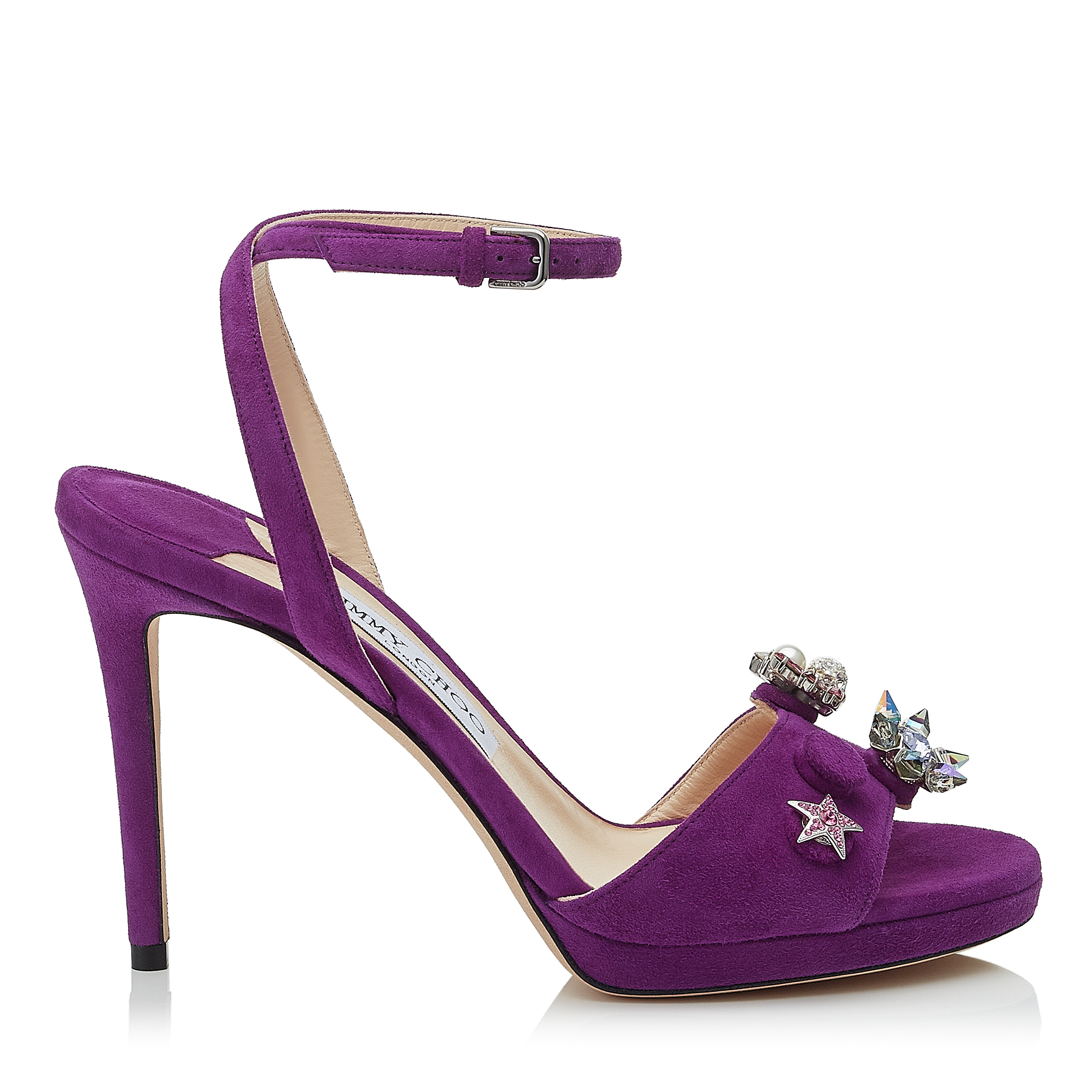 ELECTRA 100 Madeline Suede Sandals with Jewelled Buttons