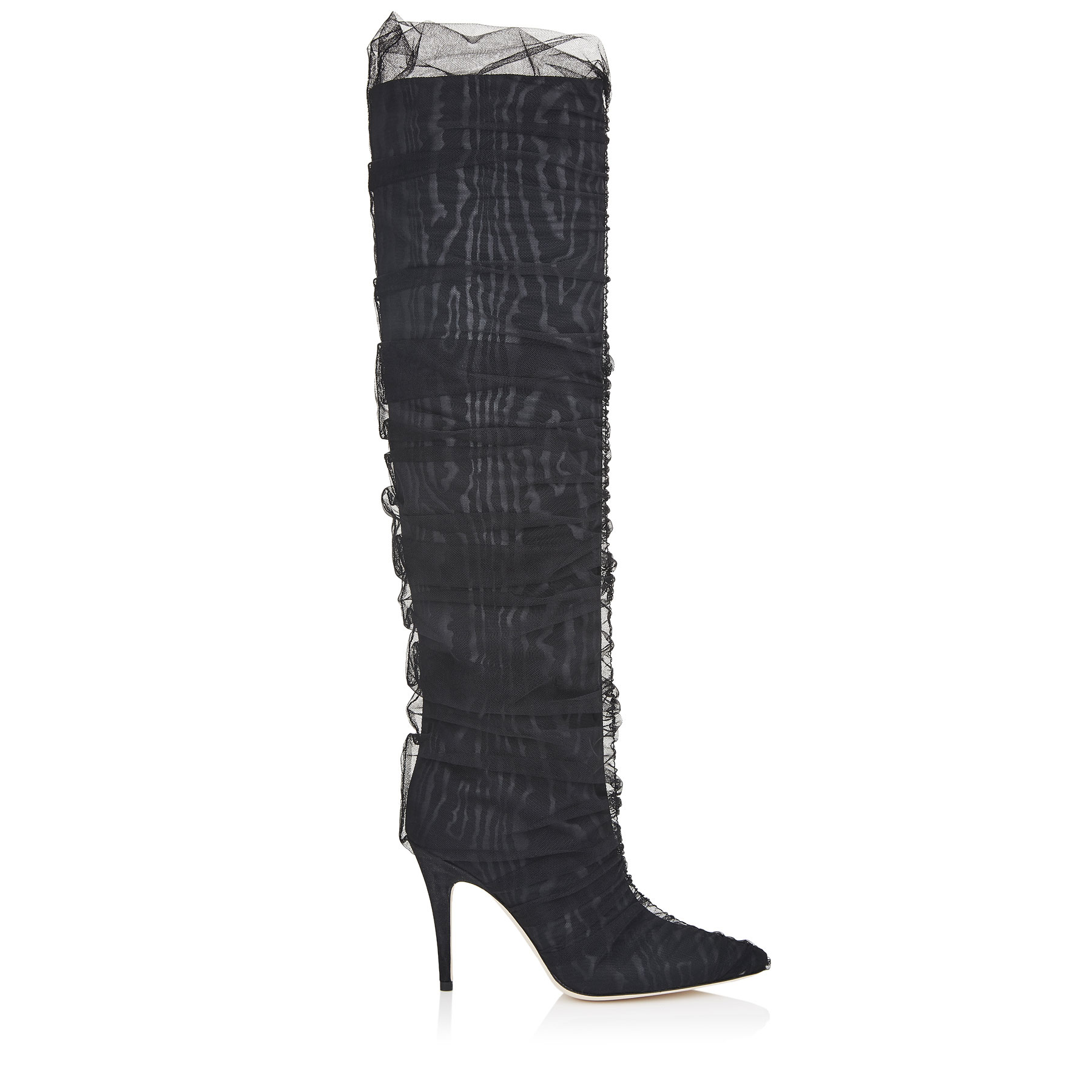 ELISABETH 100 Black Moire Knee High Boots with Ruched Tulle by Jimmy Choo