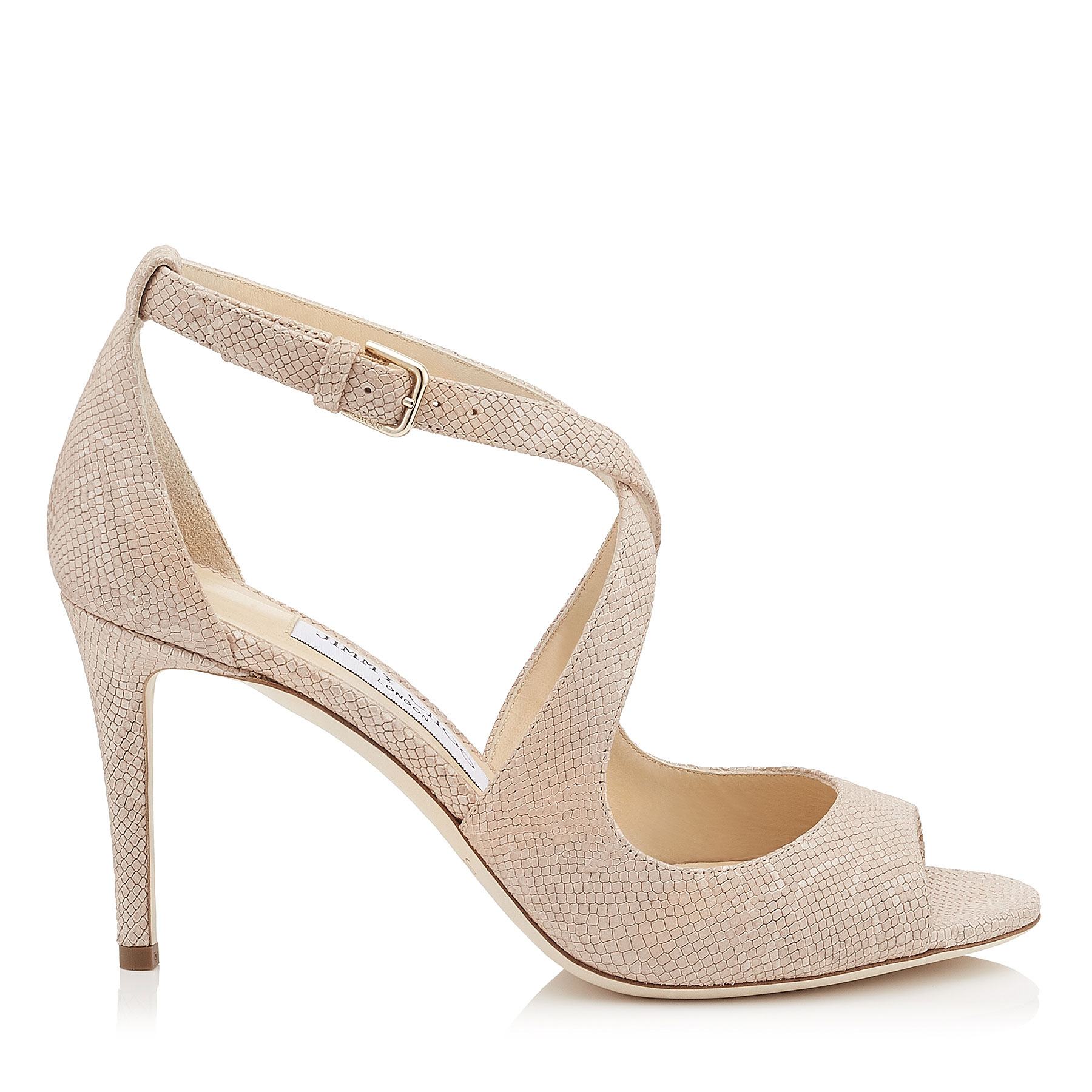 EMILY 85 Nude Metallic Embossed Lamé Leather Sandals