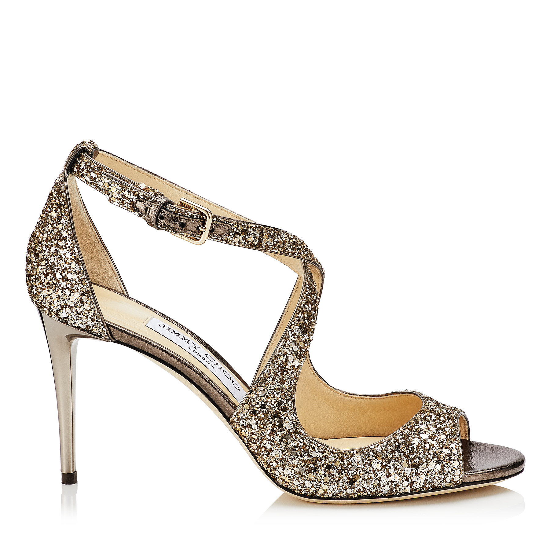 EMILY 85 Antique Gold Shadow Coarse Glitter Fabric Sandals