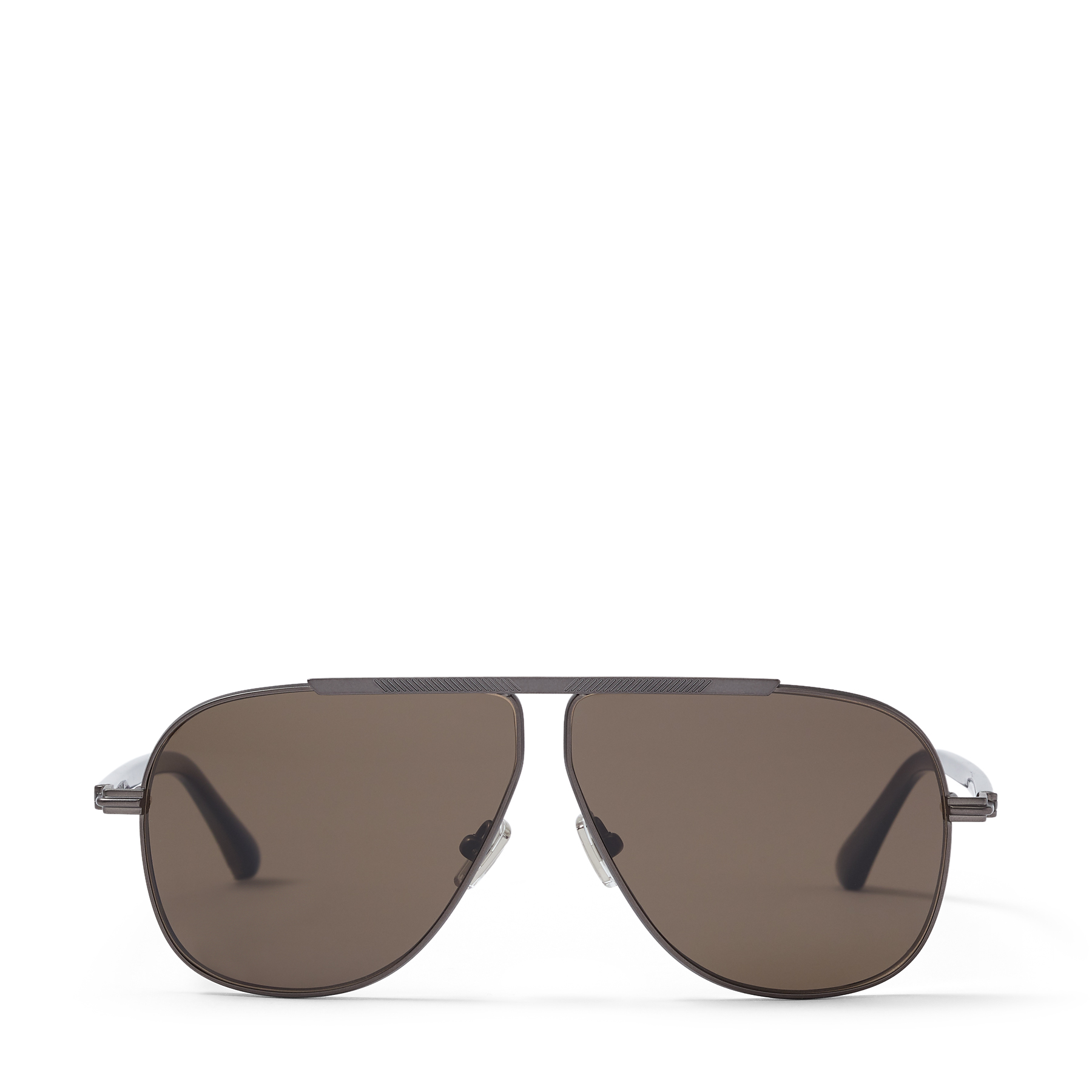 Crafted from matte dark ruthenium to an aviator shape, these Italian-crafted EWAN sunglasses give off refined edge. They\\\'re set with sleek brown polarized lenses, and finished with grey tips that continue the mood.