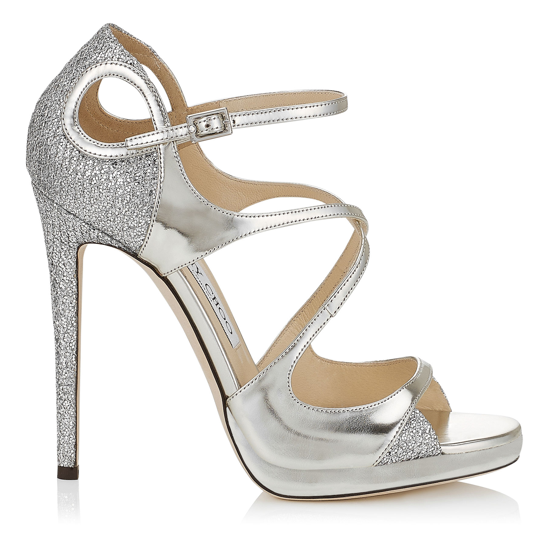 FANCIE 120 Silver Glitter Fabric and Mirror Leather Platform Sandals