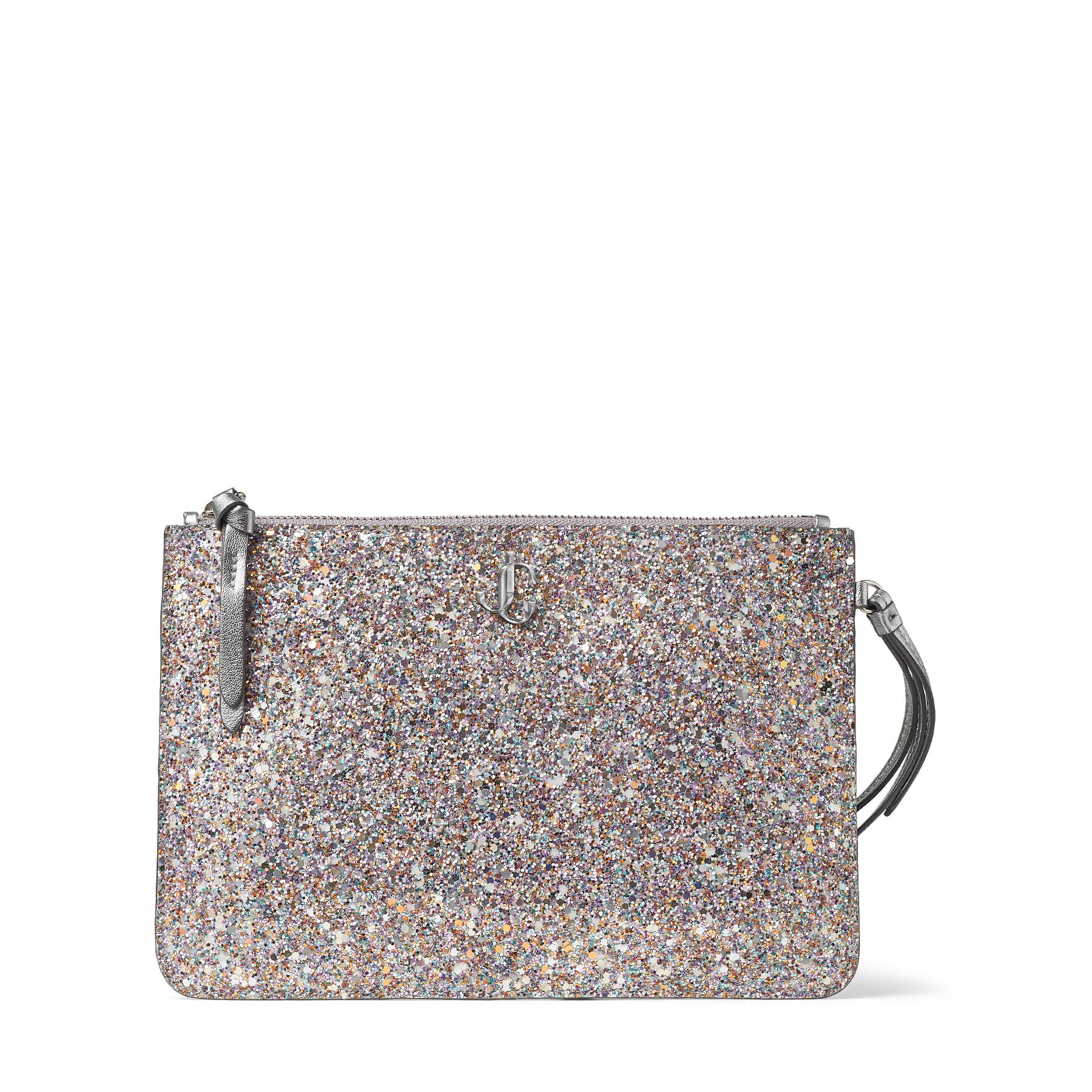For moments when you don\\\'t need to carry a lot, our luminous glow-in-the-dark glitter fabric FARA wristlet pouch is a chic option. It\\\'s crafted to a slender structured shape that\\\'s embellished with the signature JC emblem. Carry it both day and night, zipping your absolute essentials in the compact interior.