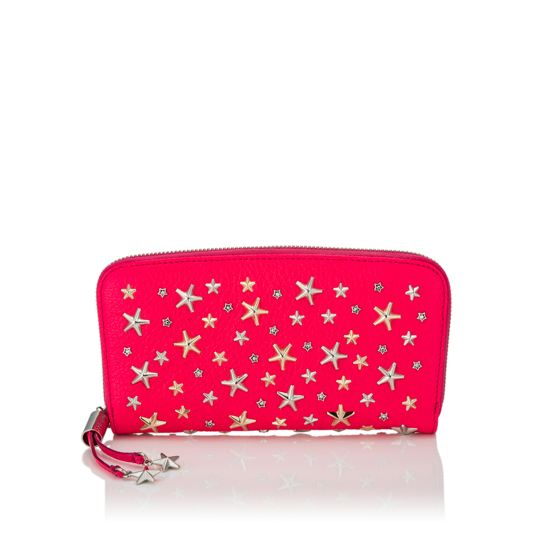 FILIPA Shocking Pink Leather Wallet with Crystal Star