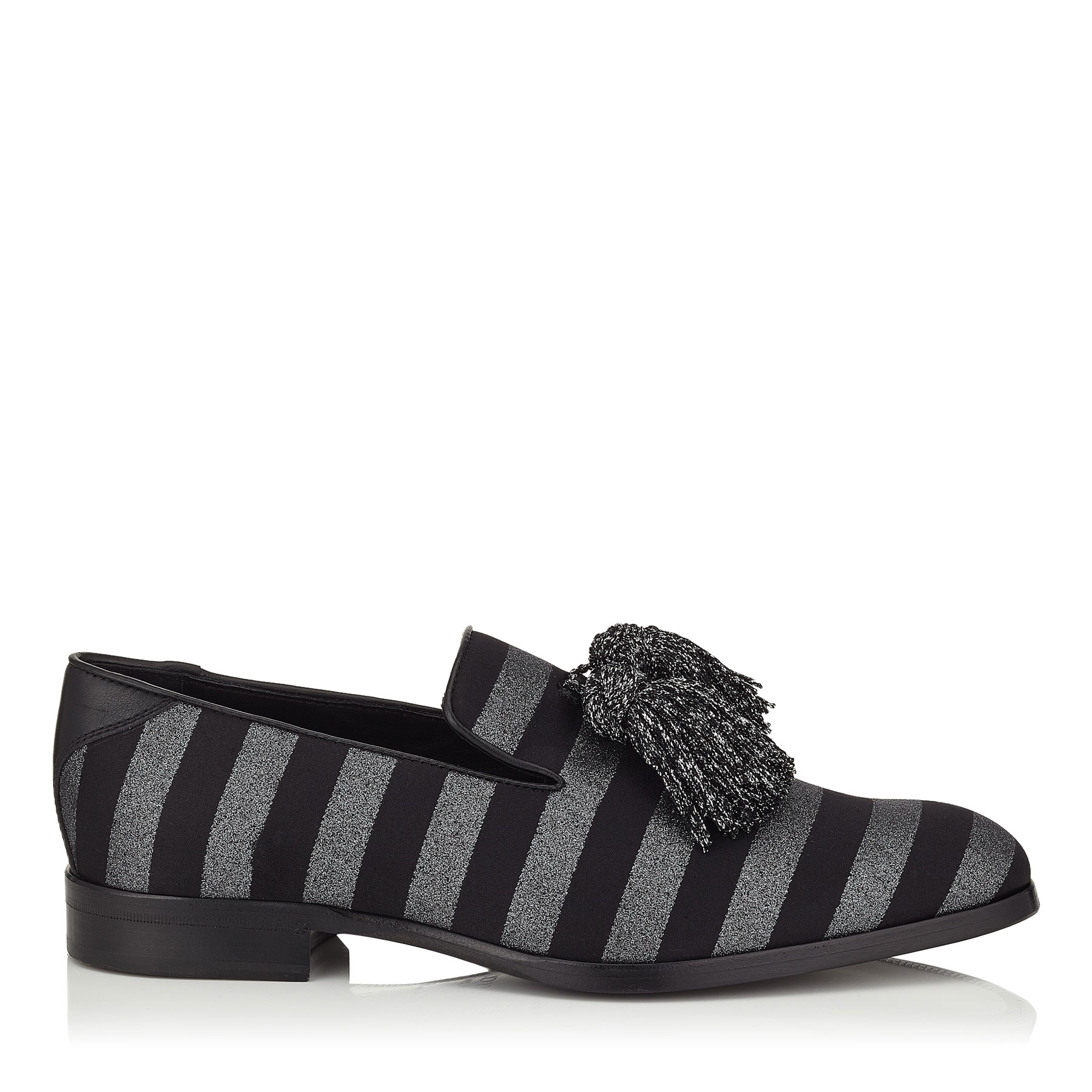 FOXLEY Black and Gunmetal Glitter Striped Fabric Tasselled Slippers