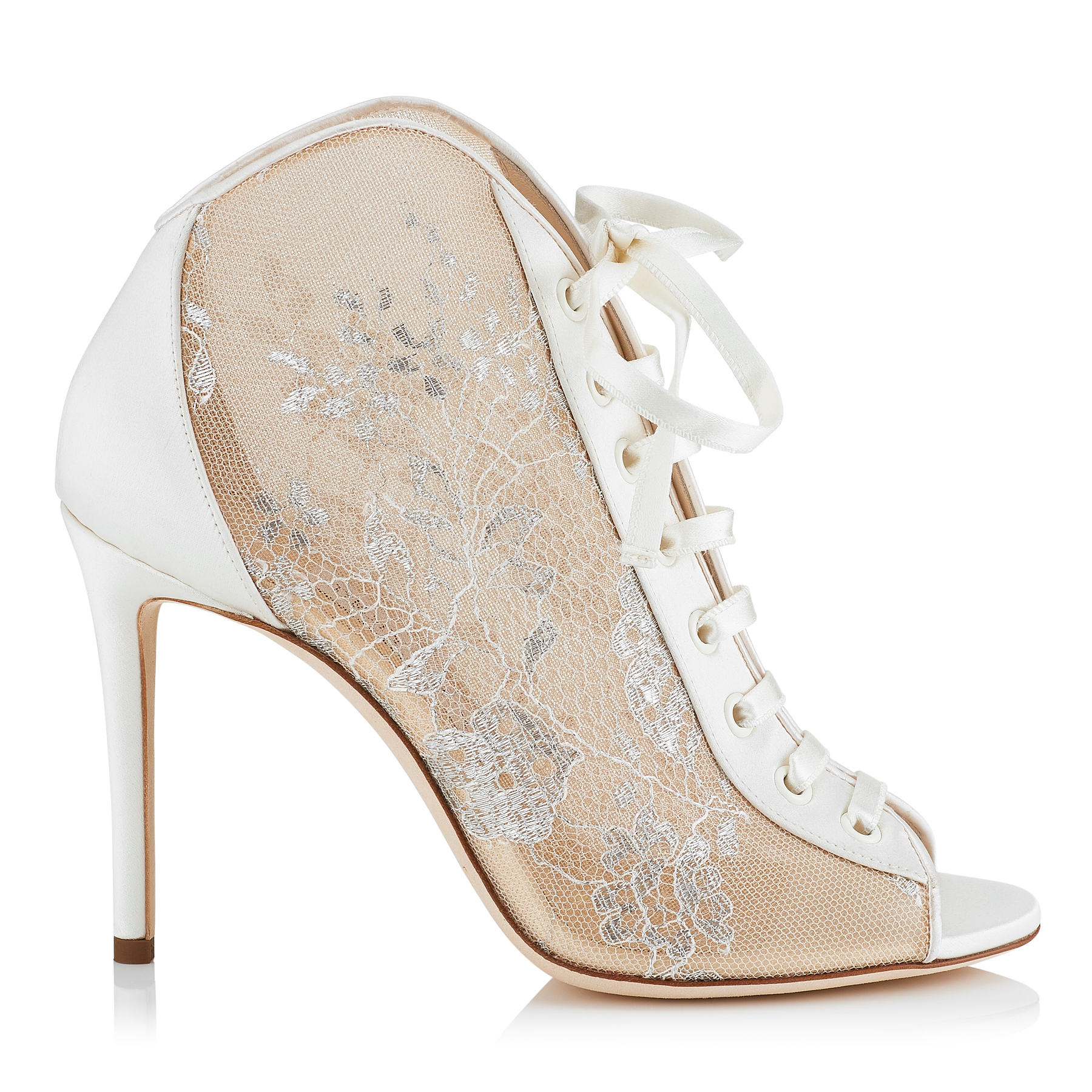 734ad5002 FREYA 100 White Lace and Satin Ivory Peep Toe Booties by Jimmy Choo ...