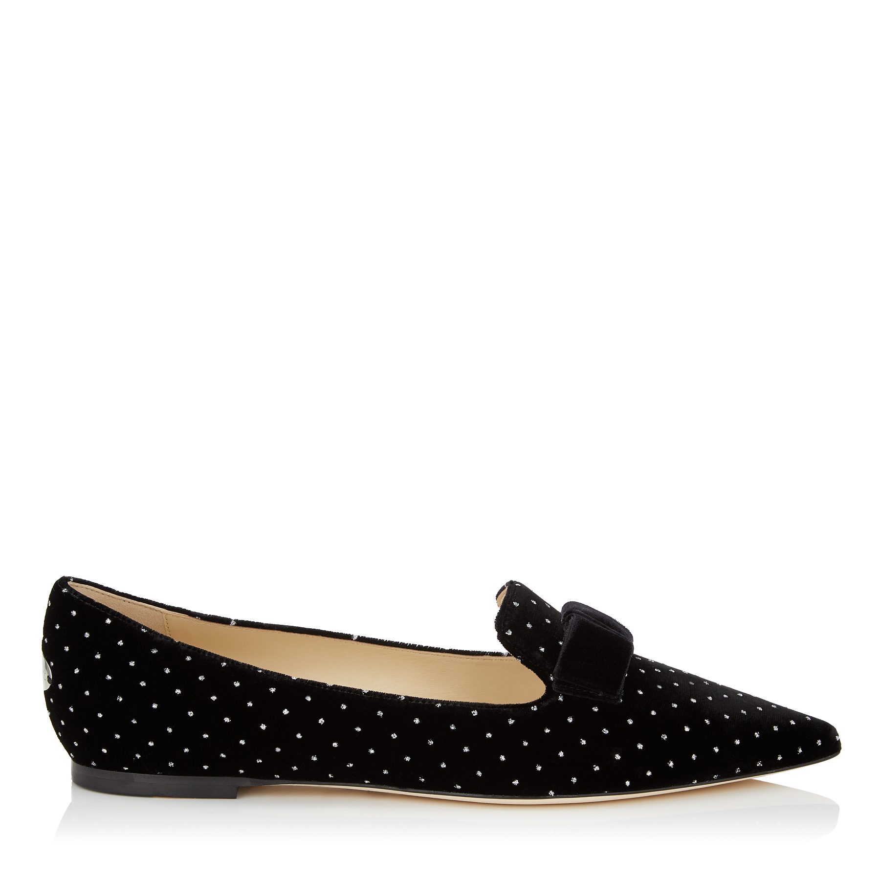 GALA Black Glitter Spotted Velvet Pointy Toe Flats with Bow Detail