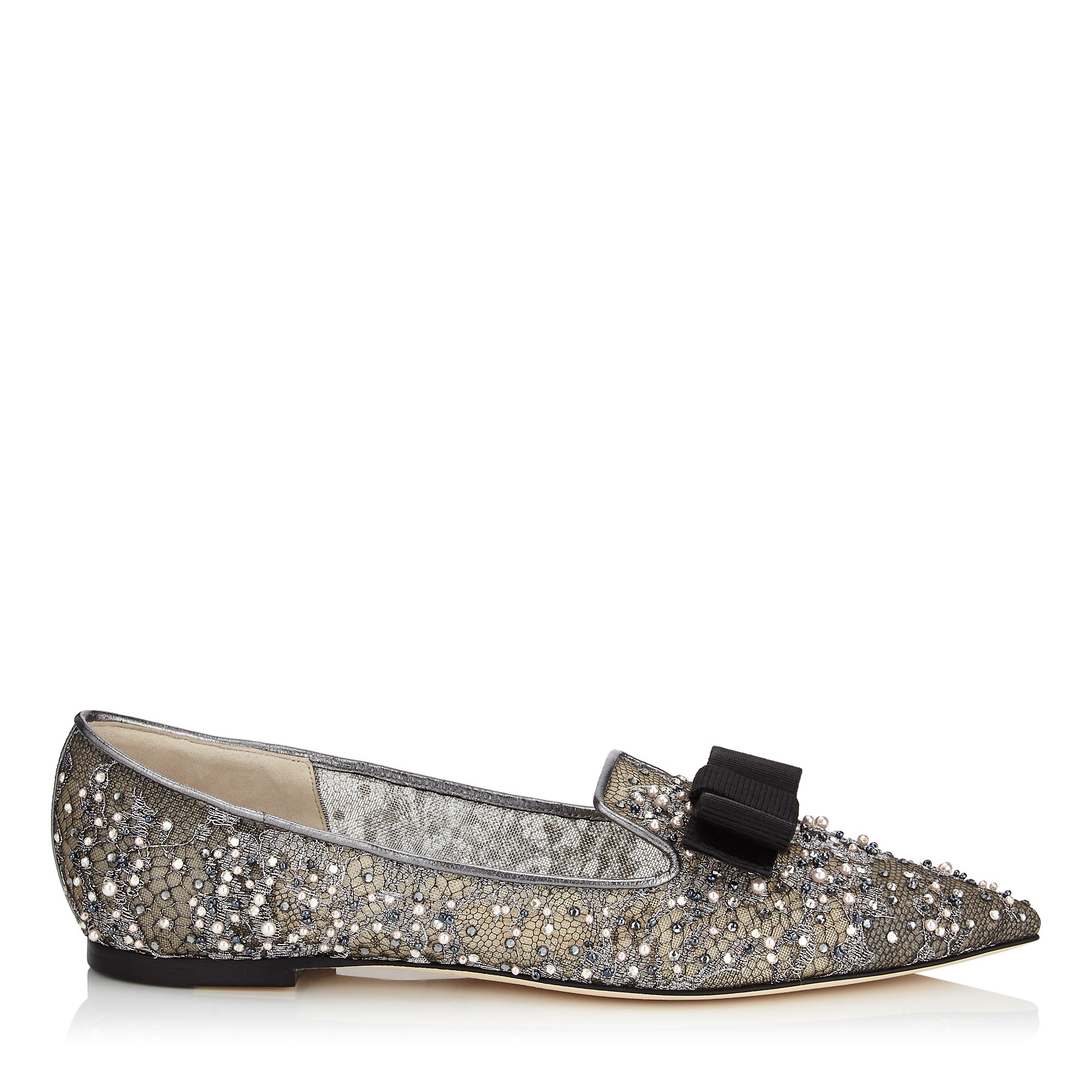 GALA Anthracite Lace Crystal and Pearl Embellished Pointy Toe Flats with Bow Detail