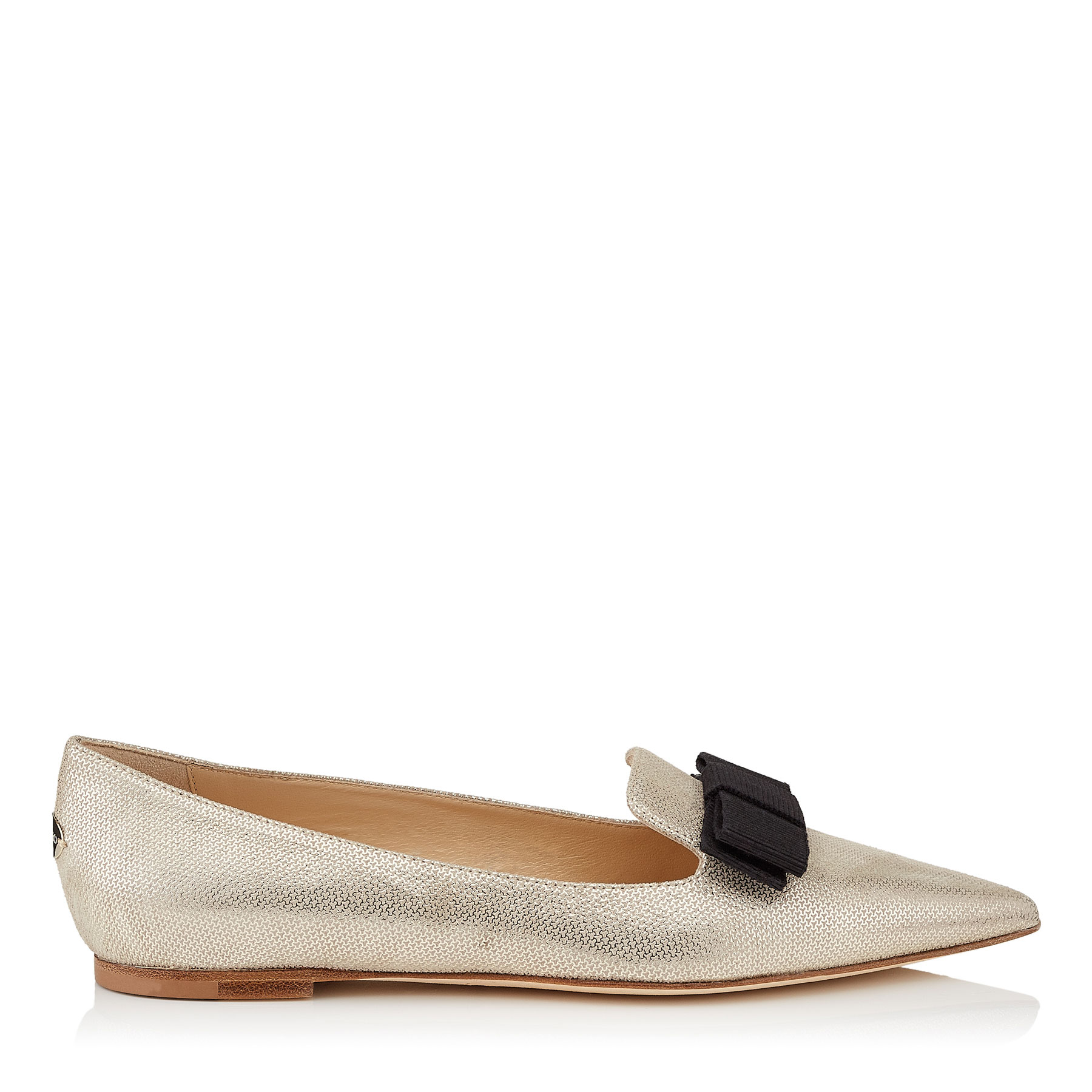 GALA Champagne Metallic Mini Print Leather Pointy Toe Flats with Bow Detail