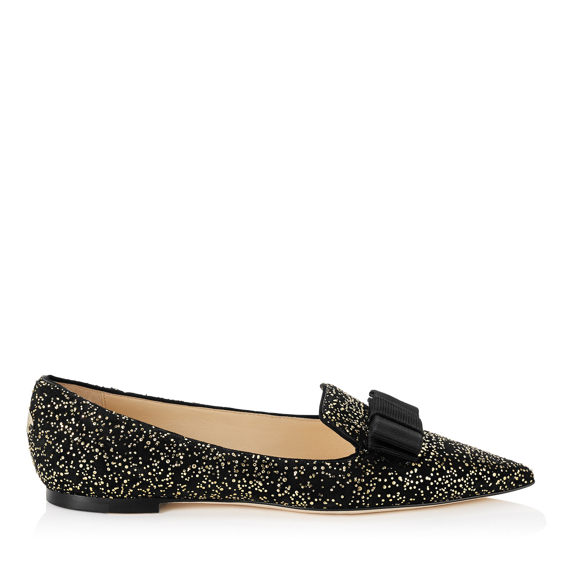 GALA Black Suede and Gold Dots Pointy Toe Flats with Bow Detail