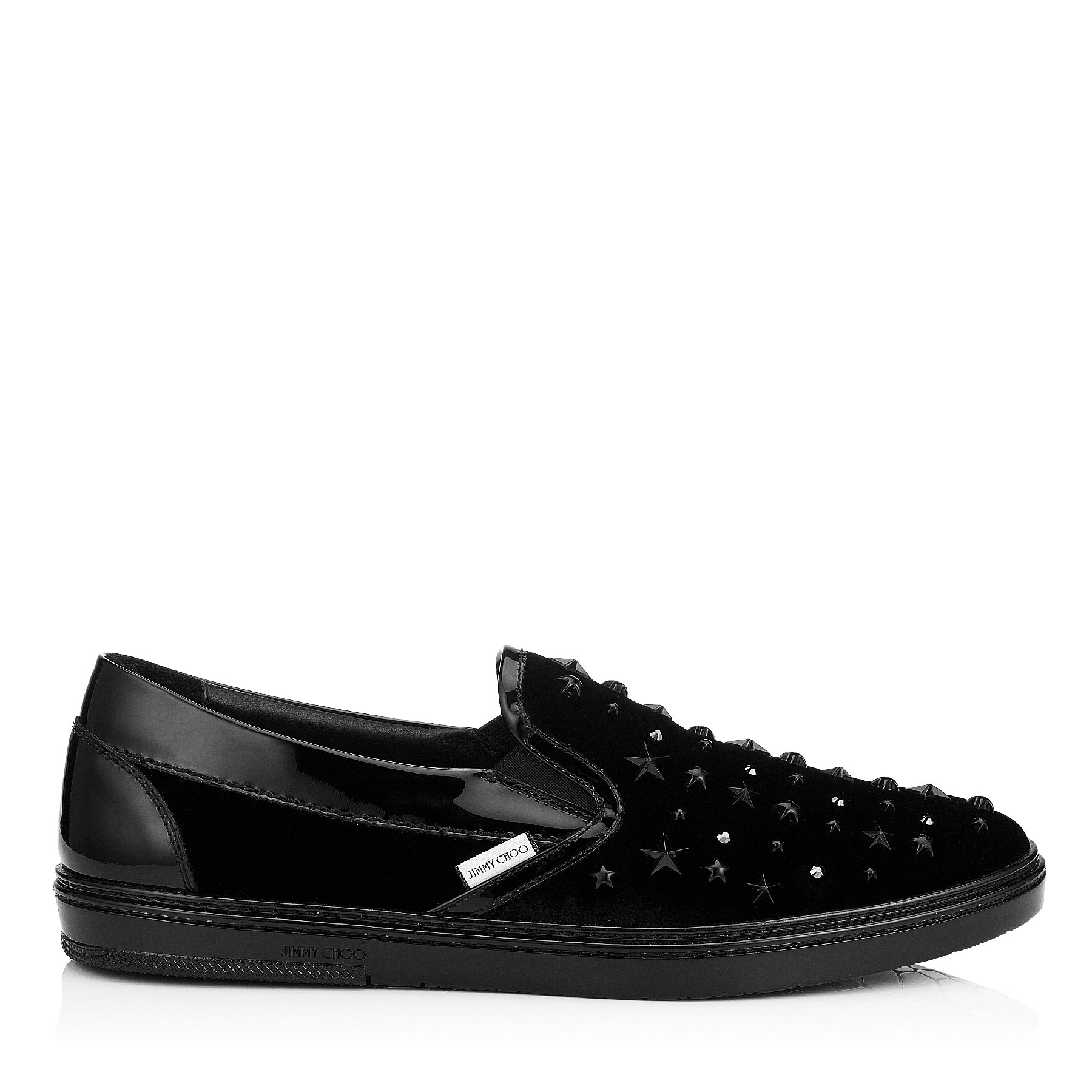 GROVE Black Velvet Slip On Trainers with Black Crystals and Stars