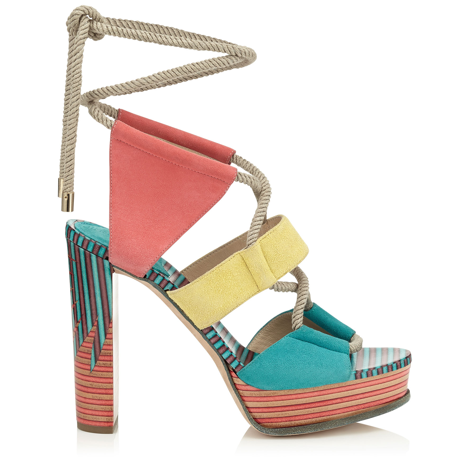 HALLEY 120 Malibu, Buttercup and Coral Pink Suede Platform Sandals