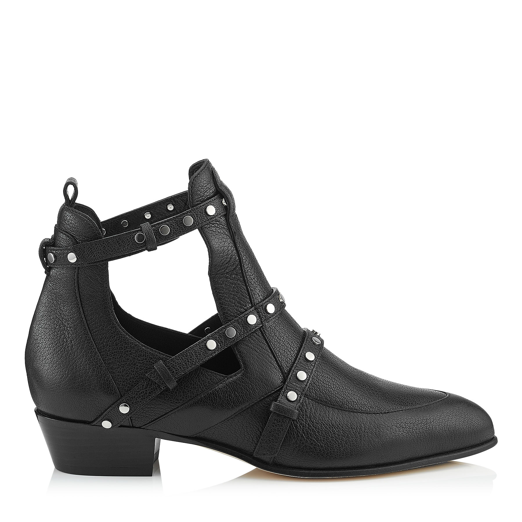 HARLEY 30 Black Textured Leather Cut Out Booties