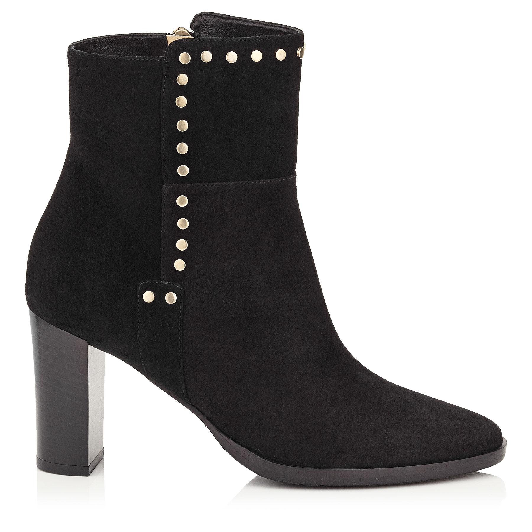 HARLOW 80 Black Suede Boots with Stud Trim