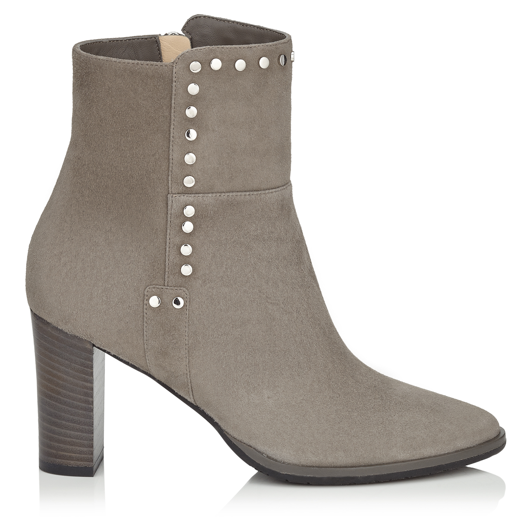 HARLOW 80 Taupe Grey Suede Boots with Stud Trim