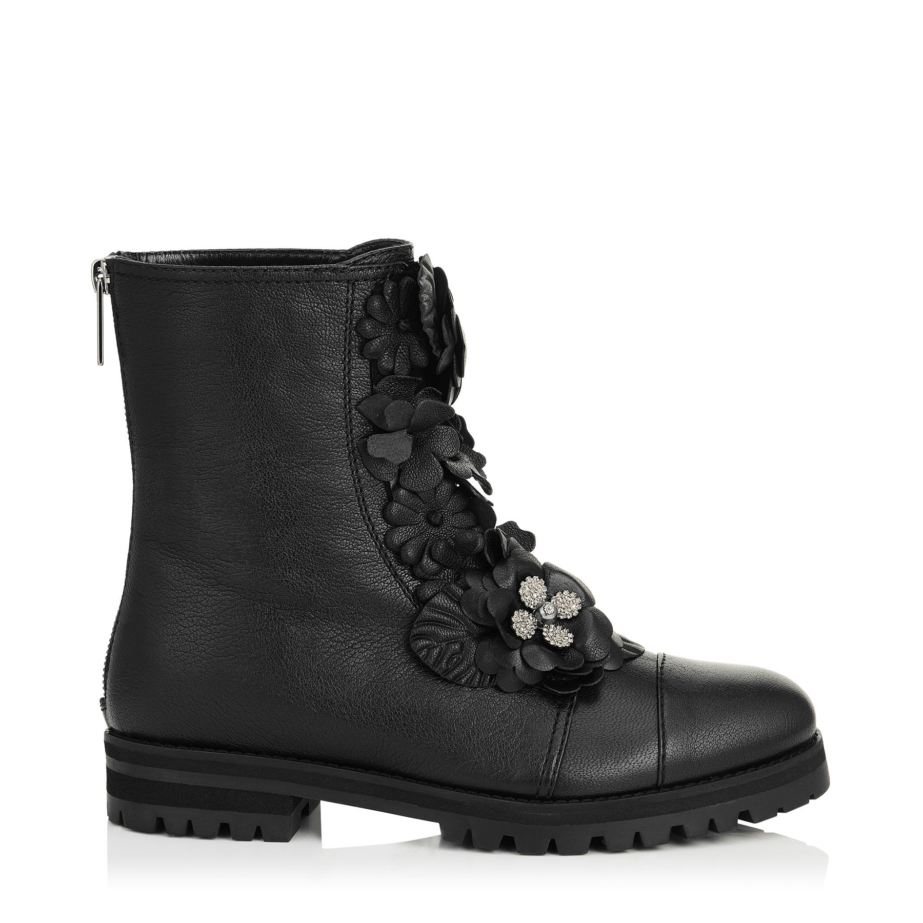 HAVANA FLAT Black Soft Textured Leather with Floral Applique Combat Boots