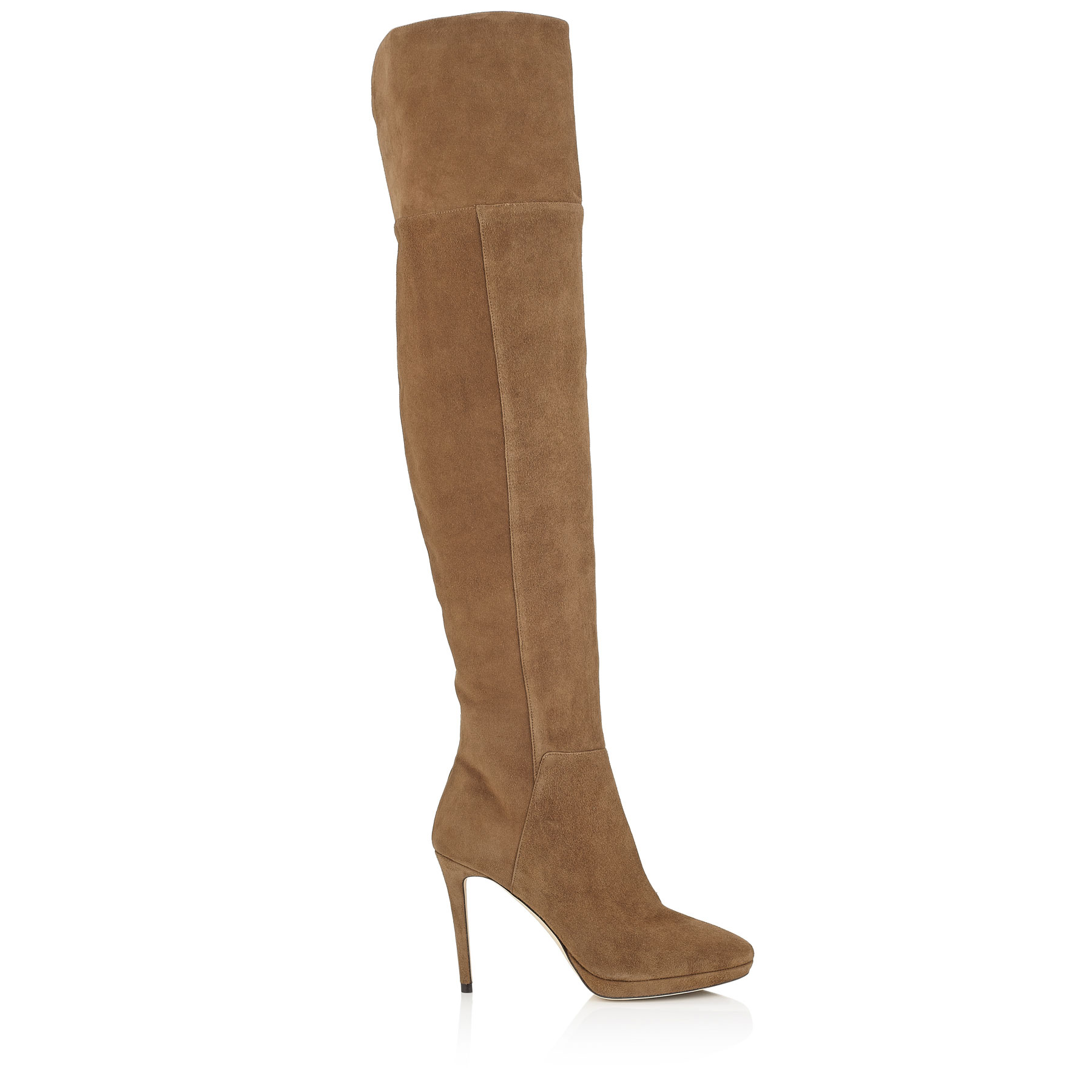 HAYLEY 100 Khaki Brown Suede Over-The-Knee Boots
