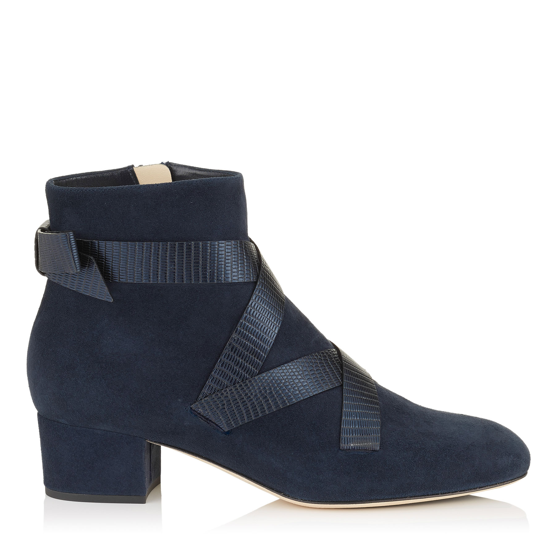 HEAT 45 Navy Suede and Metallic Printed Leather Ankle Boots