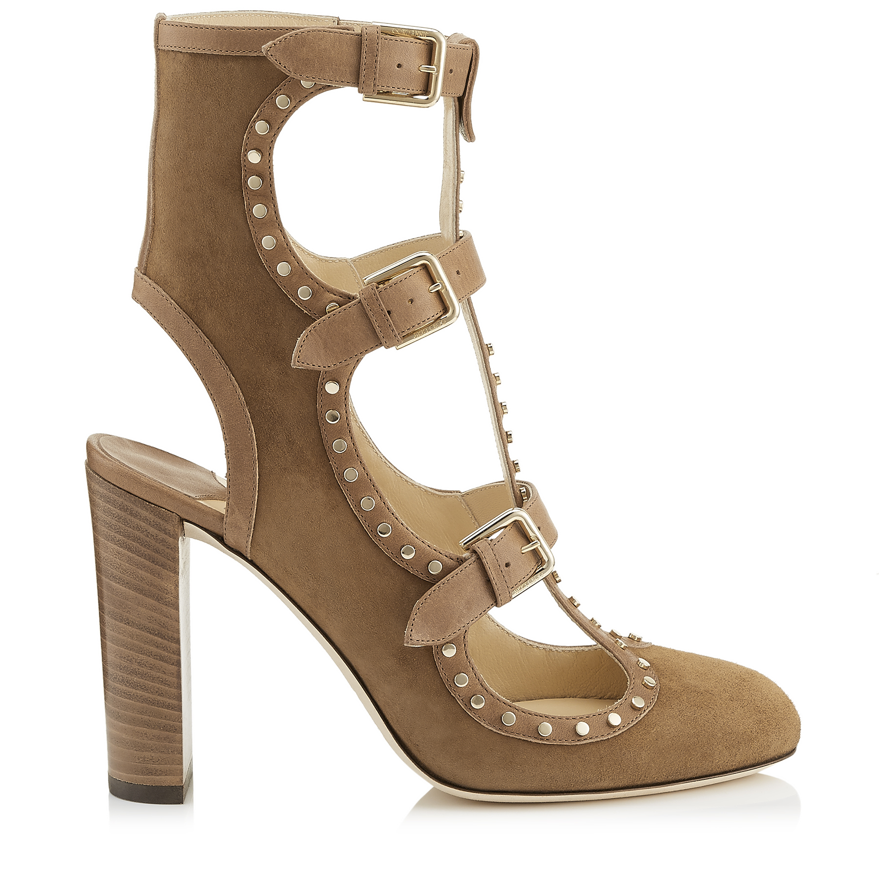 HENSLEY 100 Hazel Suede and Vachetta leather Booties with Studs