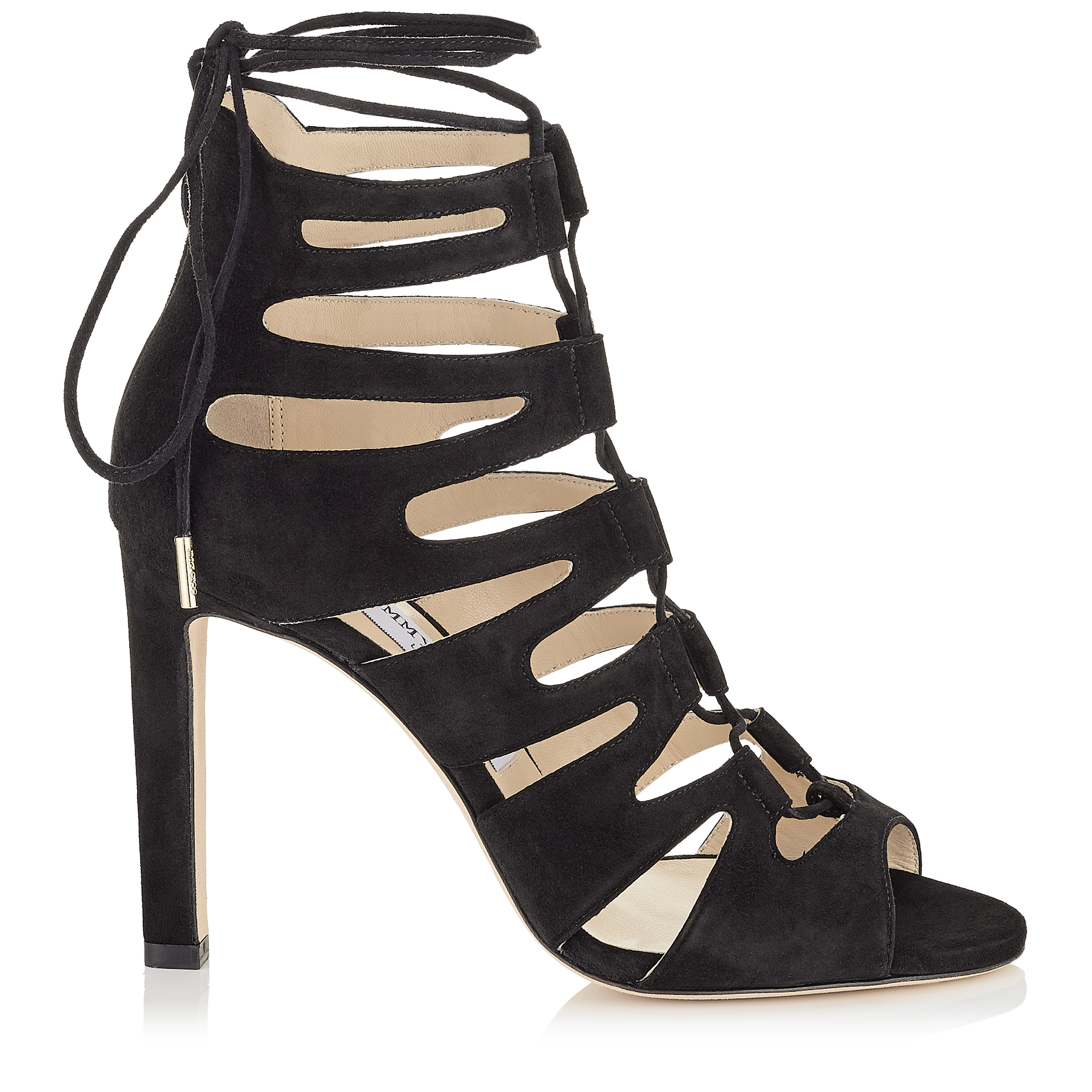 jimmy choo female hitch 100 black suede strappy sandals
