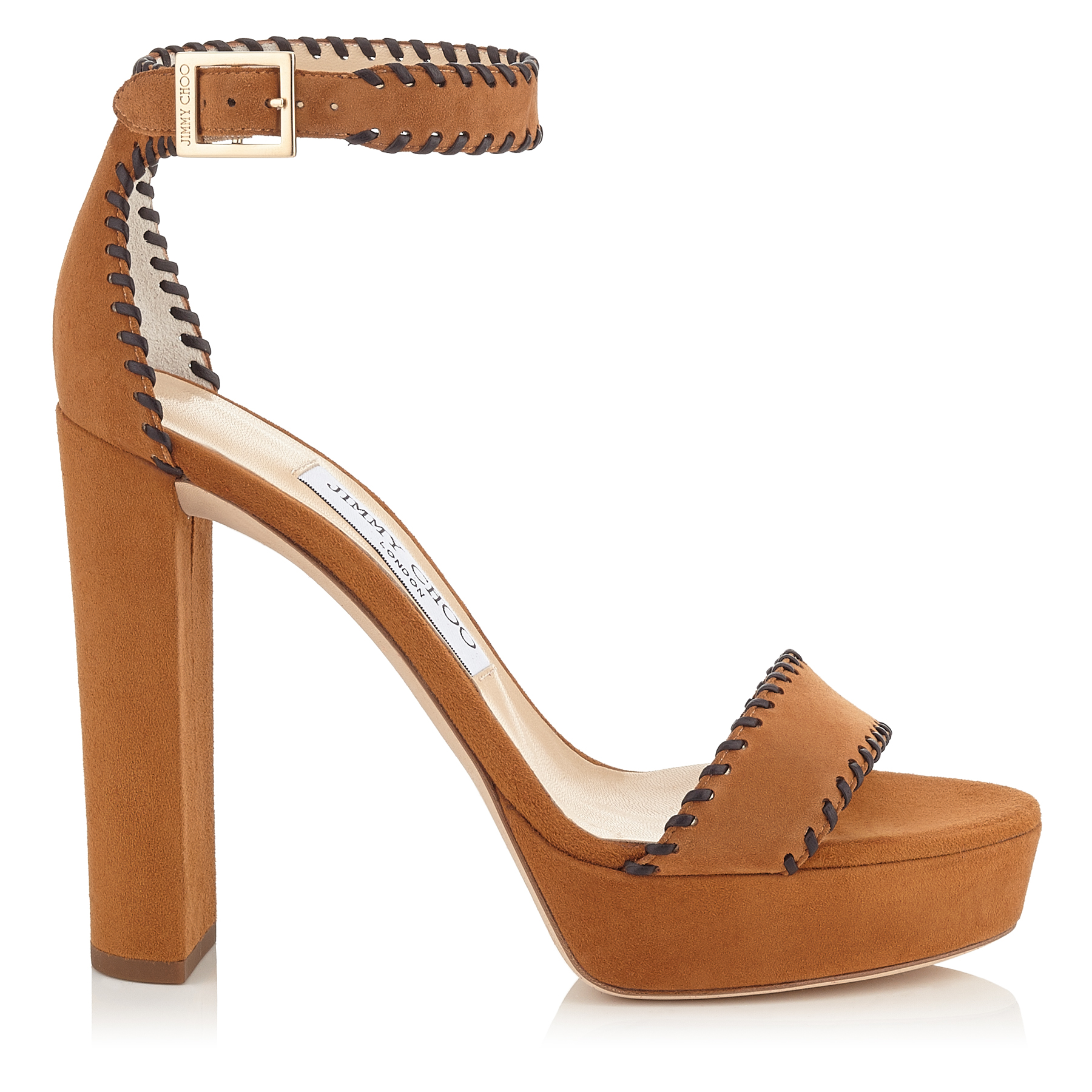 HOLLY 120 Canyon Suede and Brown Nappa Platform Sandals