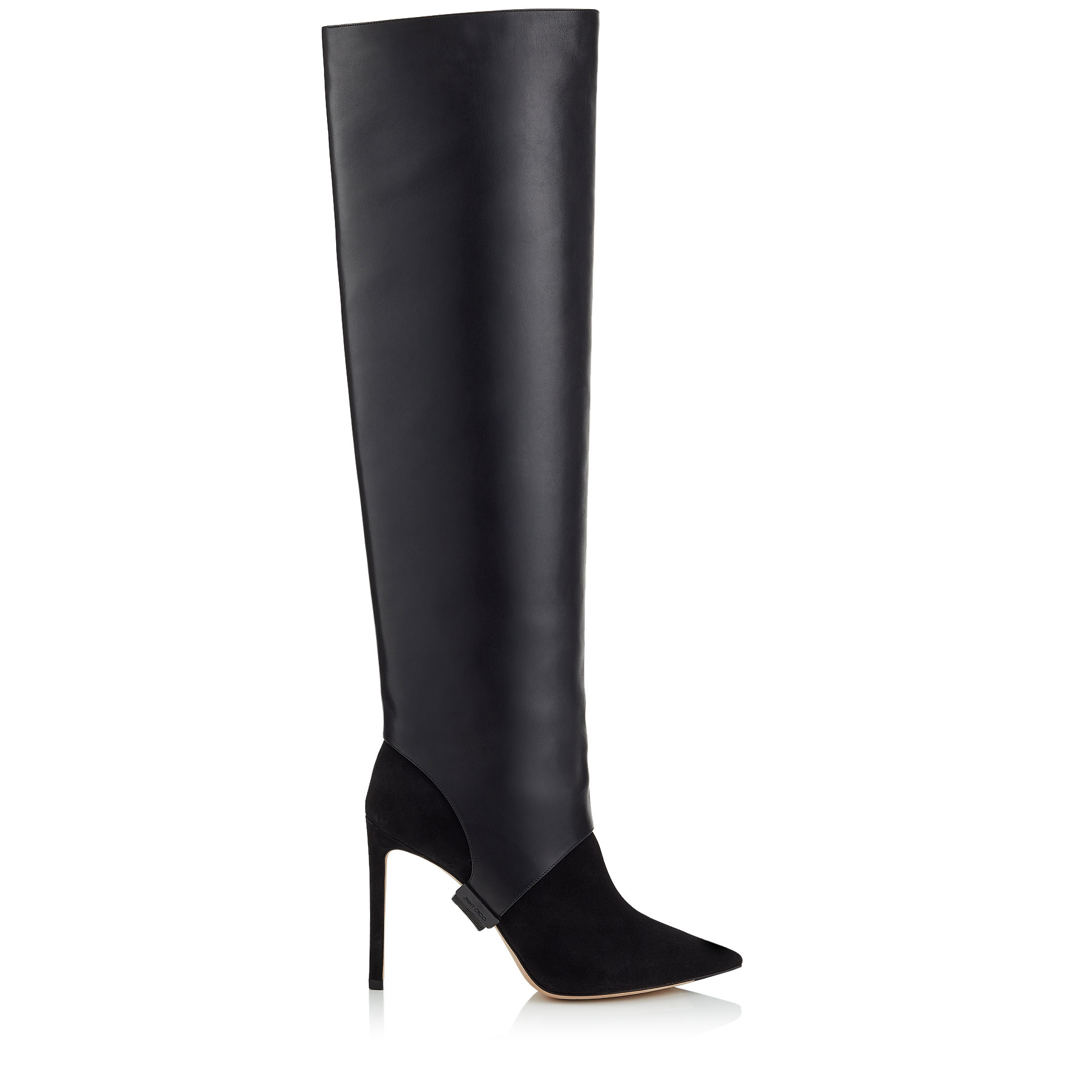 HURLEY 100 Black Suede and Calf Leather Two-Piece Knee-High Booties by Jimmy Choo