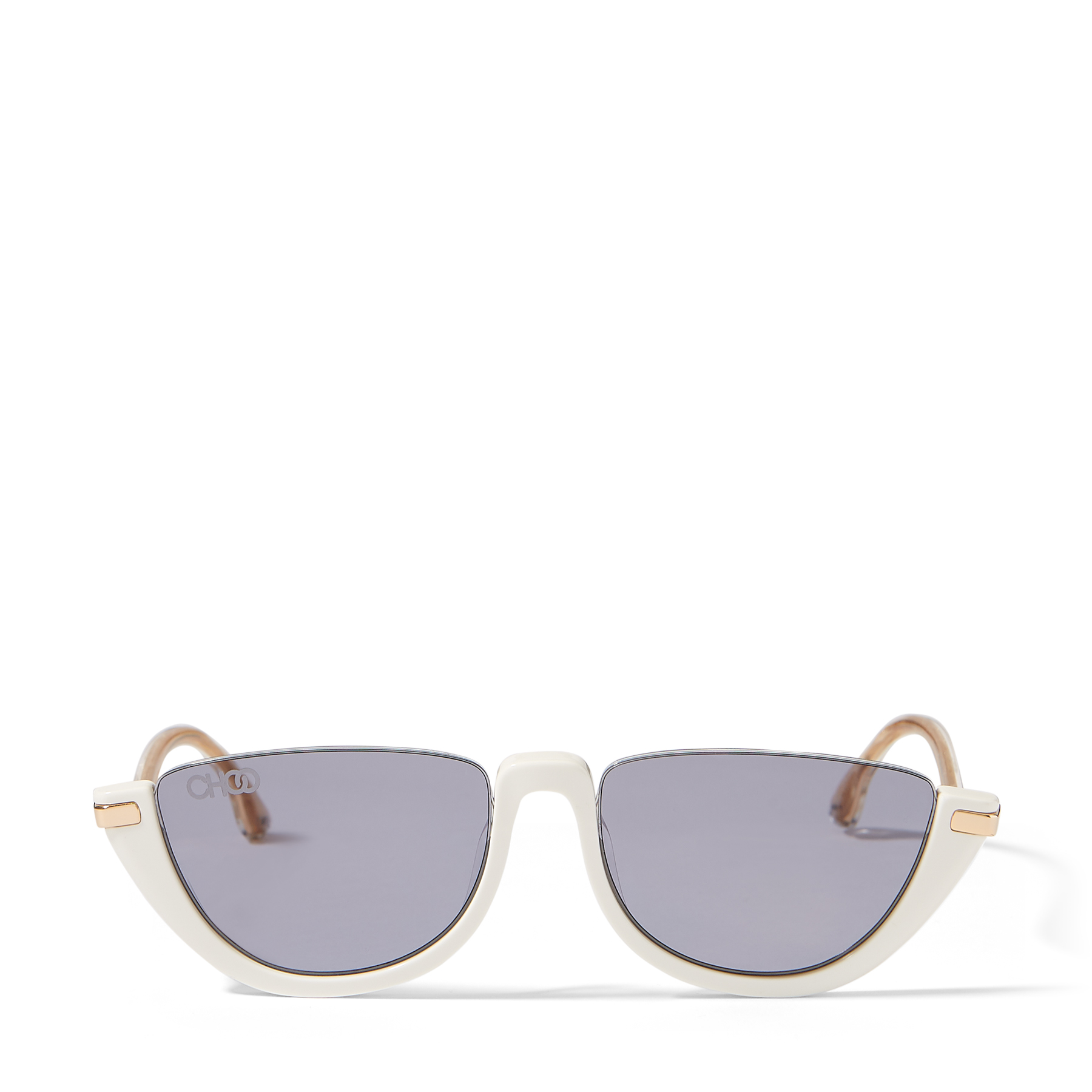 Our white acetate IONA cat eye sunglasses are the epitome of contemporary chic. They\\\'re crafted in Italy with directional shimmering temples, and set set with mauve-shaded mirror lenses that continue the mood.