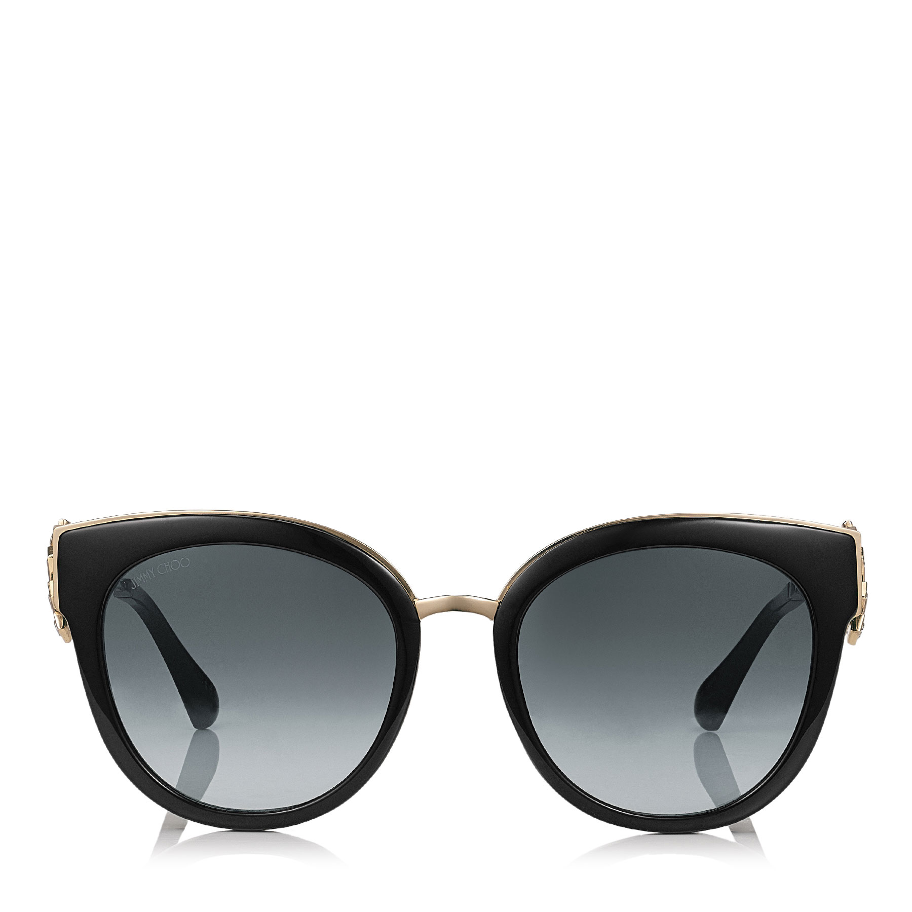 JADE/S 53 Black and Gold Oversized Sunglasses with Clip On Earrings