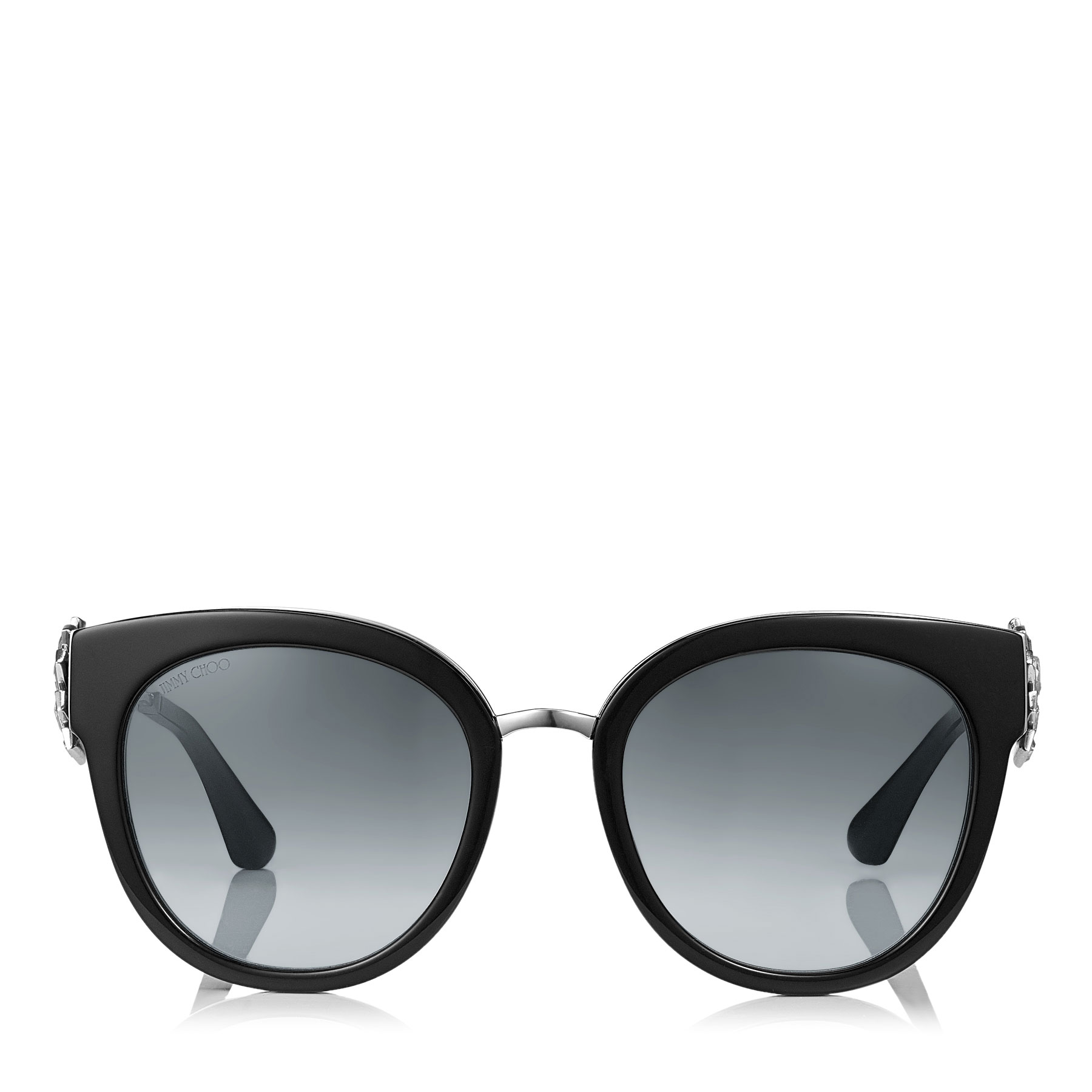 JADE/S 53 Black and Palladium Oversized Sunglasses with Clip On Earrings