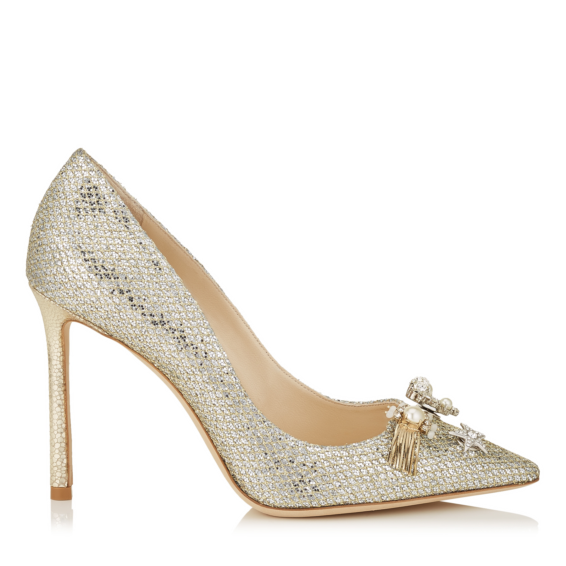 fffcee83286 JASMINE 100 Champagne Glitter Fabric Pointy Toe Pumps with Jewelled Buttons