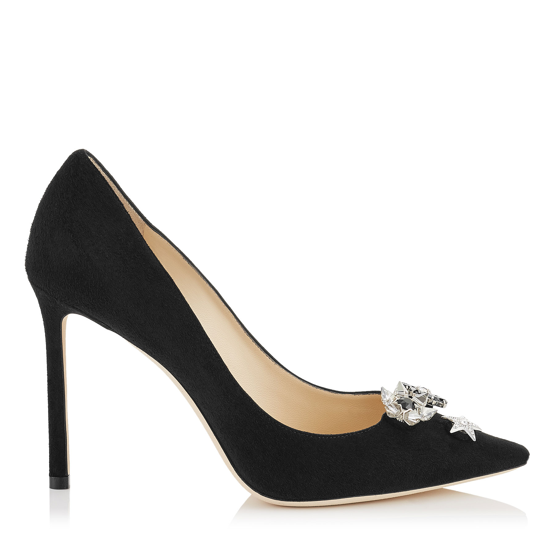 JASMINE 100 Black Suede Pointy Toe Pumps with Jewelled Buttons