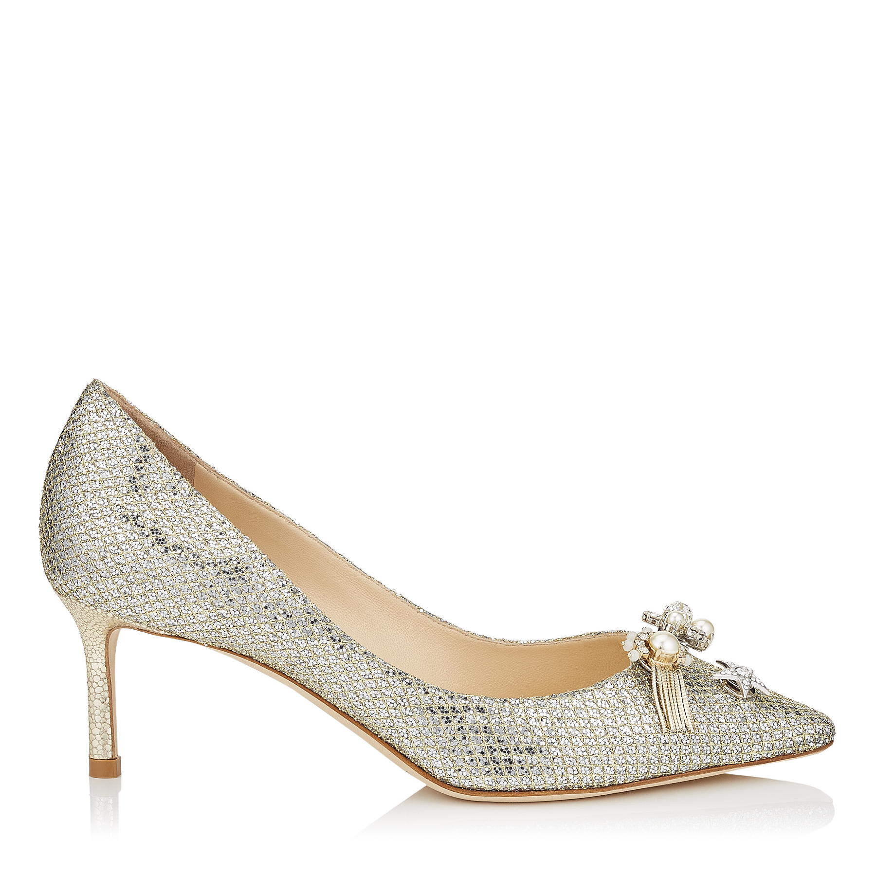 JASMINE 60 Champagne Glitter Fabric Pointy Toe Pumps with Jewelled Buttons