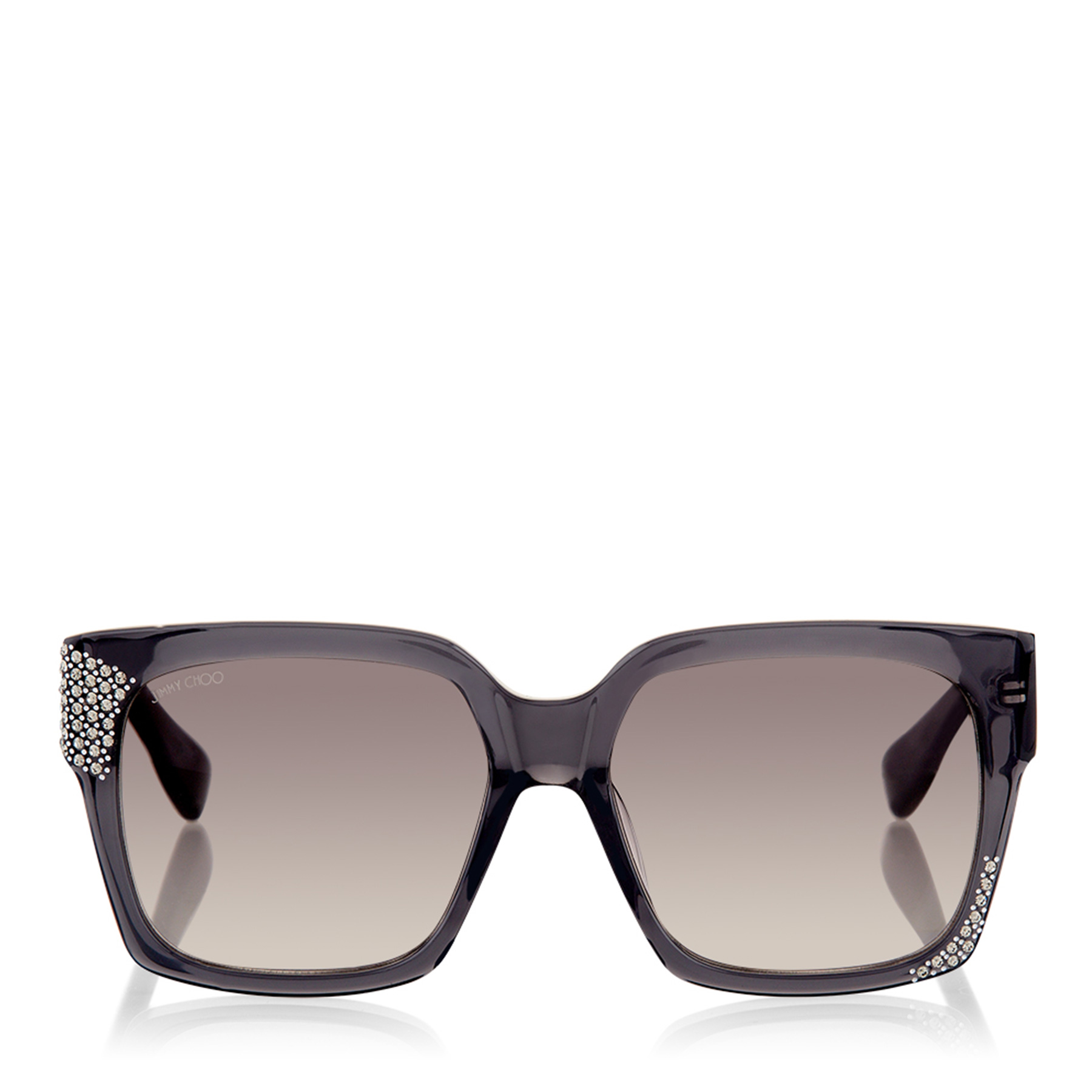 JEN Transparent Grey Sunglasses with Crystals