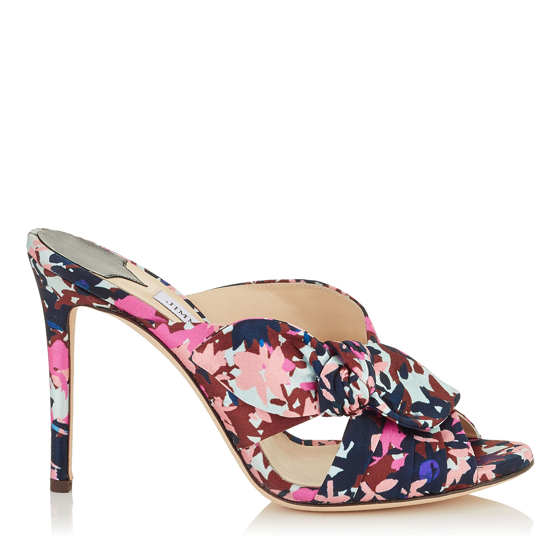 KEELY 100 Dahlia and Brown Camoflower Print Satin Mules