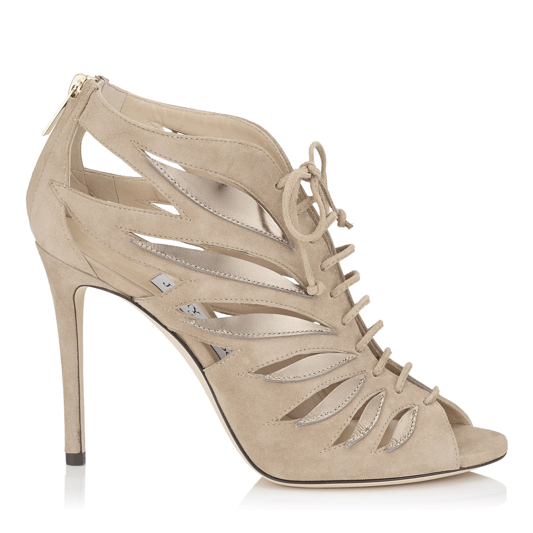 jimmy choo female keena 100 nude mix suede and mirror leather sandal booties