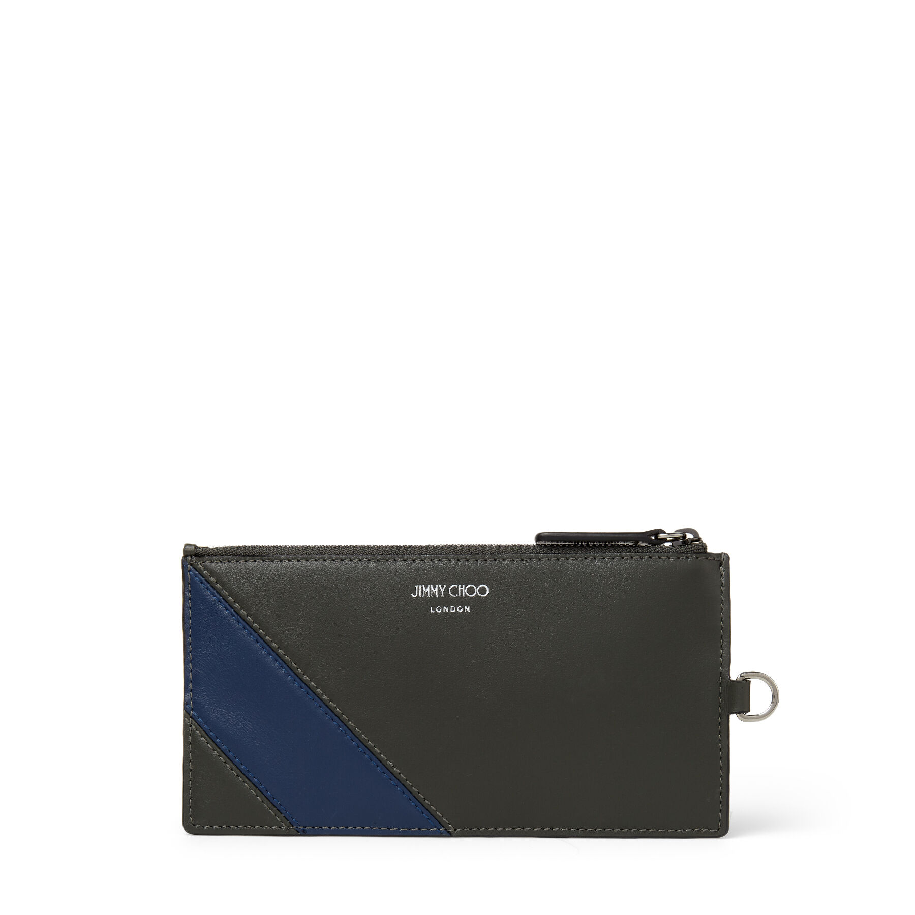 In sea-green croc-embossed leather with an asymmetric denim striped panel, KRESS is a refined accessory with a contemporary touch. It\\\'s crafted in Italy to a slender shape with card holders and a zipped coin pocket to organise essentials, and finished with subtle Jimmy Choo branding.