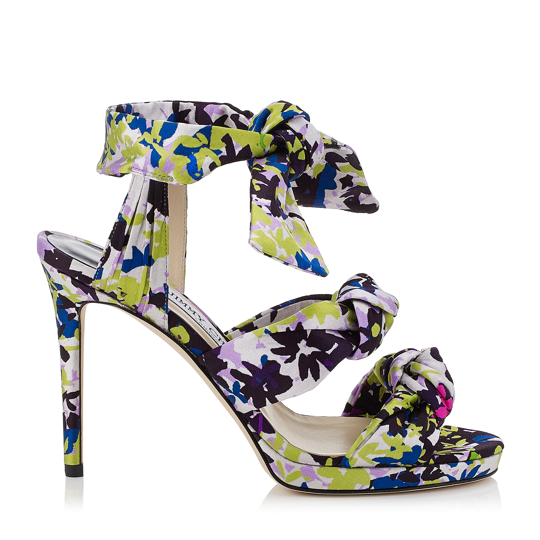 KRIS 100 Apple and Lilac Camoflower Print Satin Knotted Sandals
