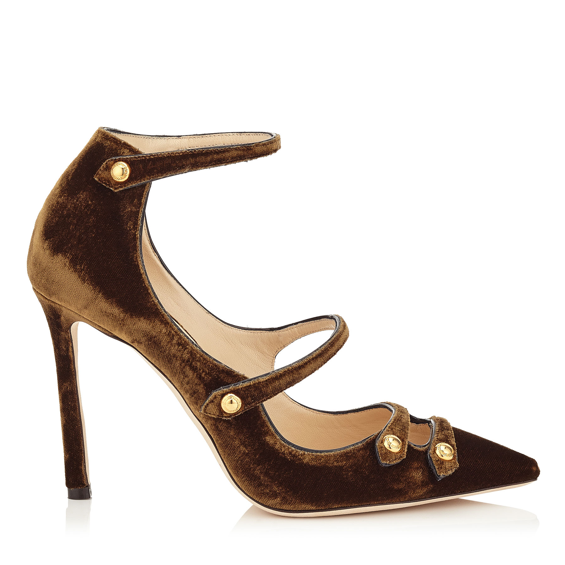 LACEY 100 Amber Velvet and Black Patent Pointy Toe Pumps