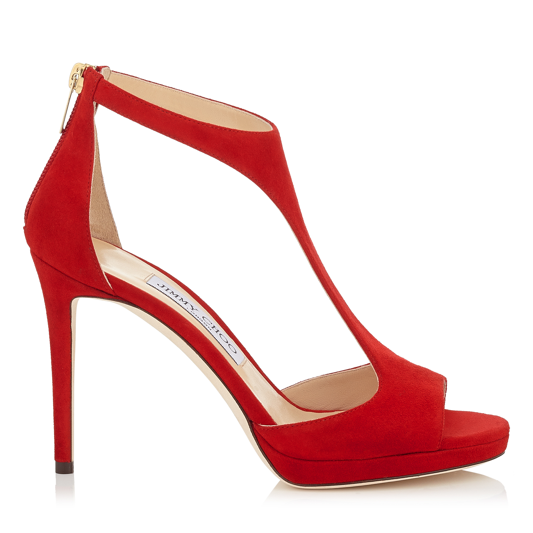 LANA 100 Red Suede T-Bar Sandals