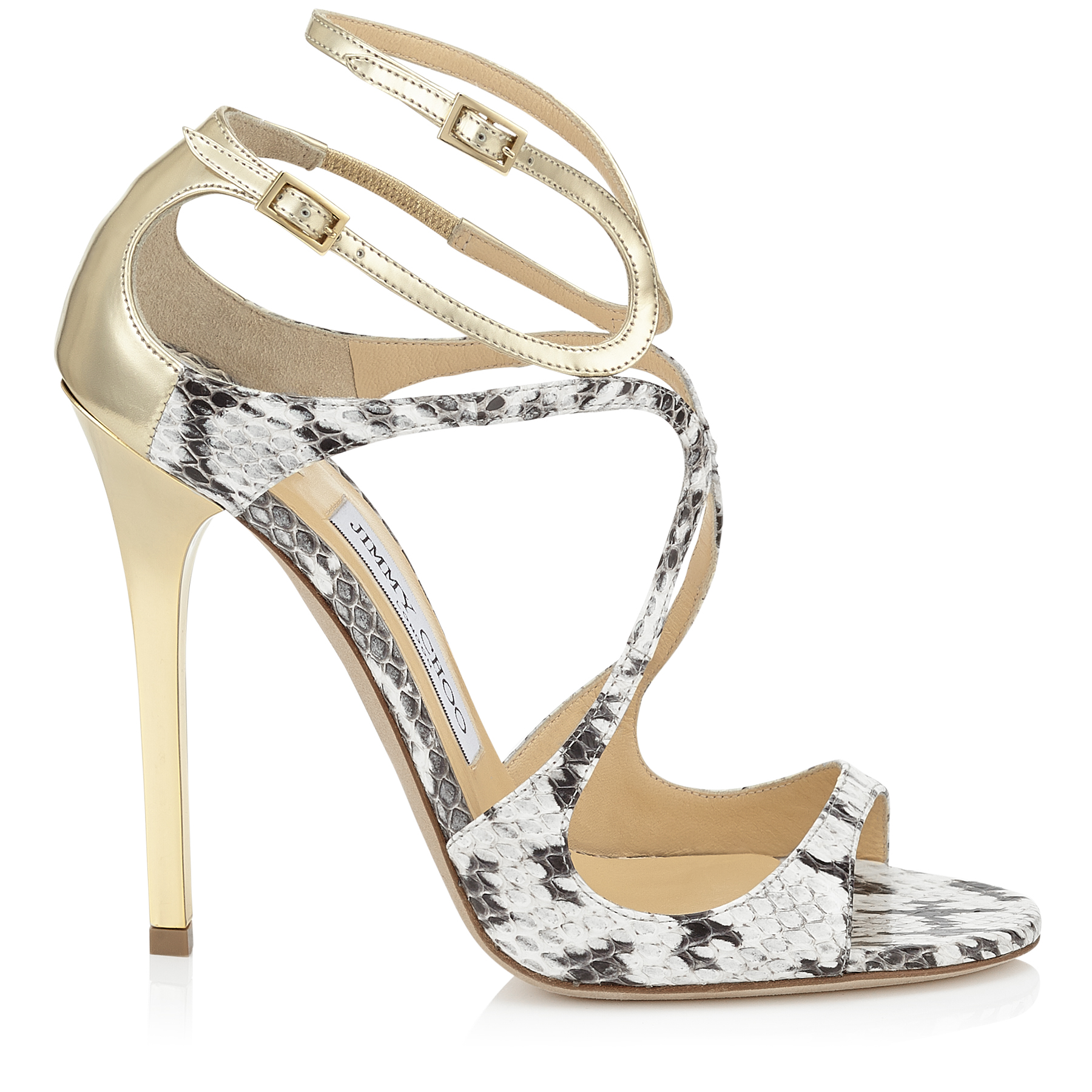 LANCE Natural Glossy Elaphe and Light Platinum Mirror Leather Strappy Sandals