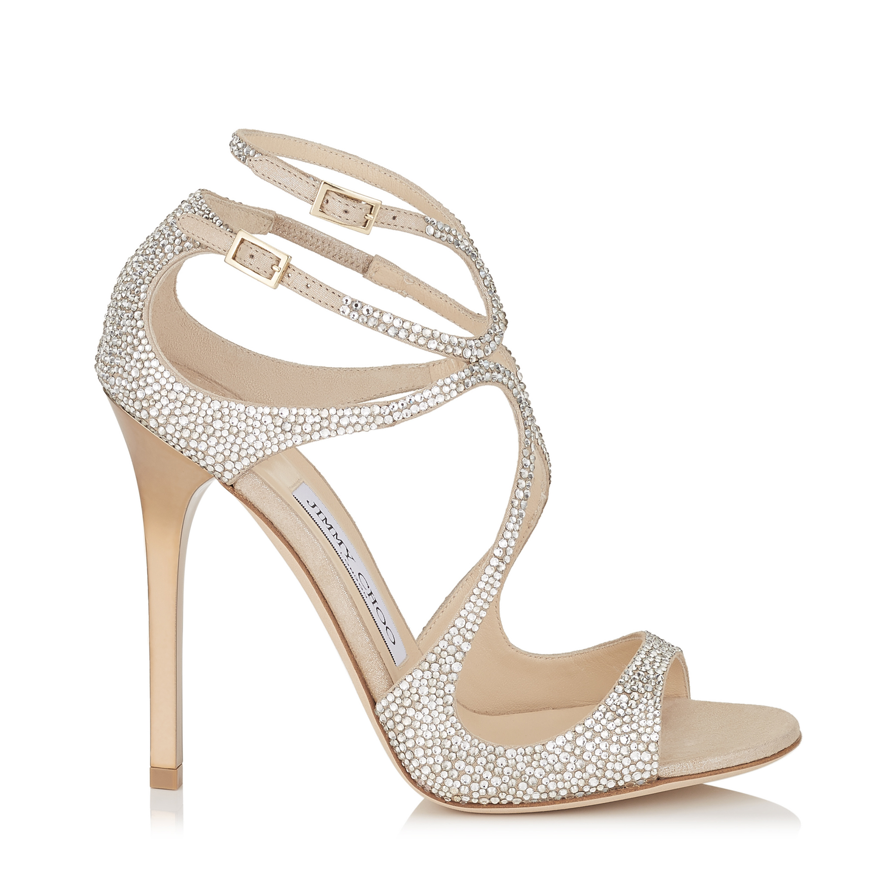 LANCE Nude Suede Sandals with Crystals