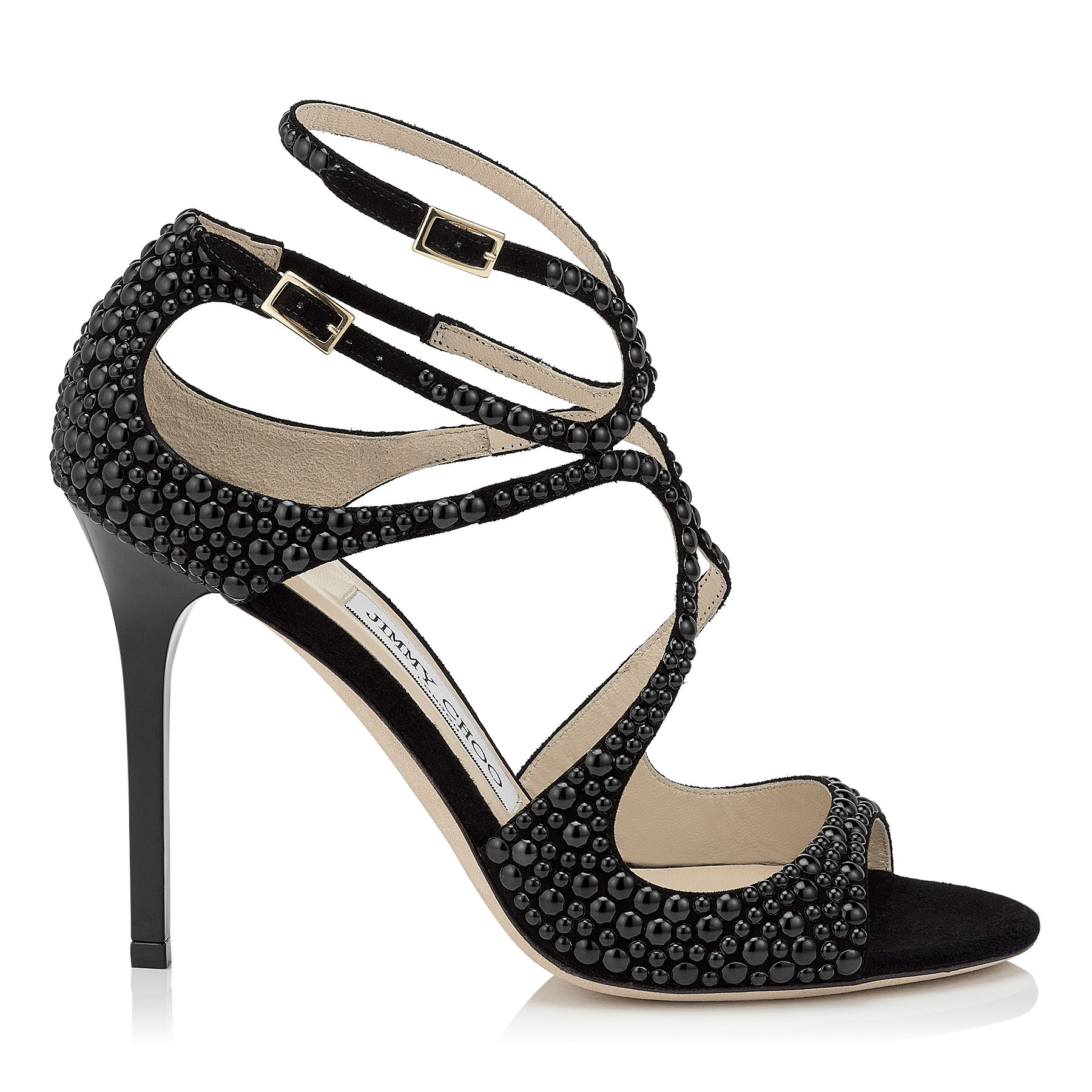 LANG Black Suede Sandals with Hotfix Beads
