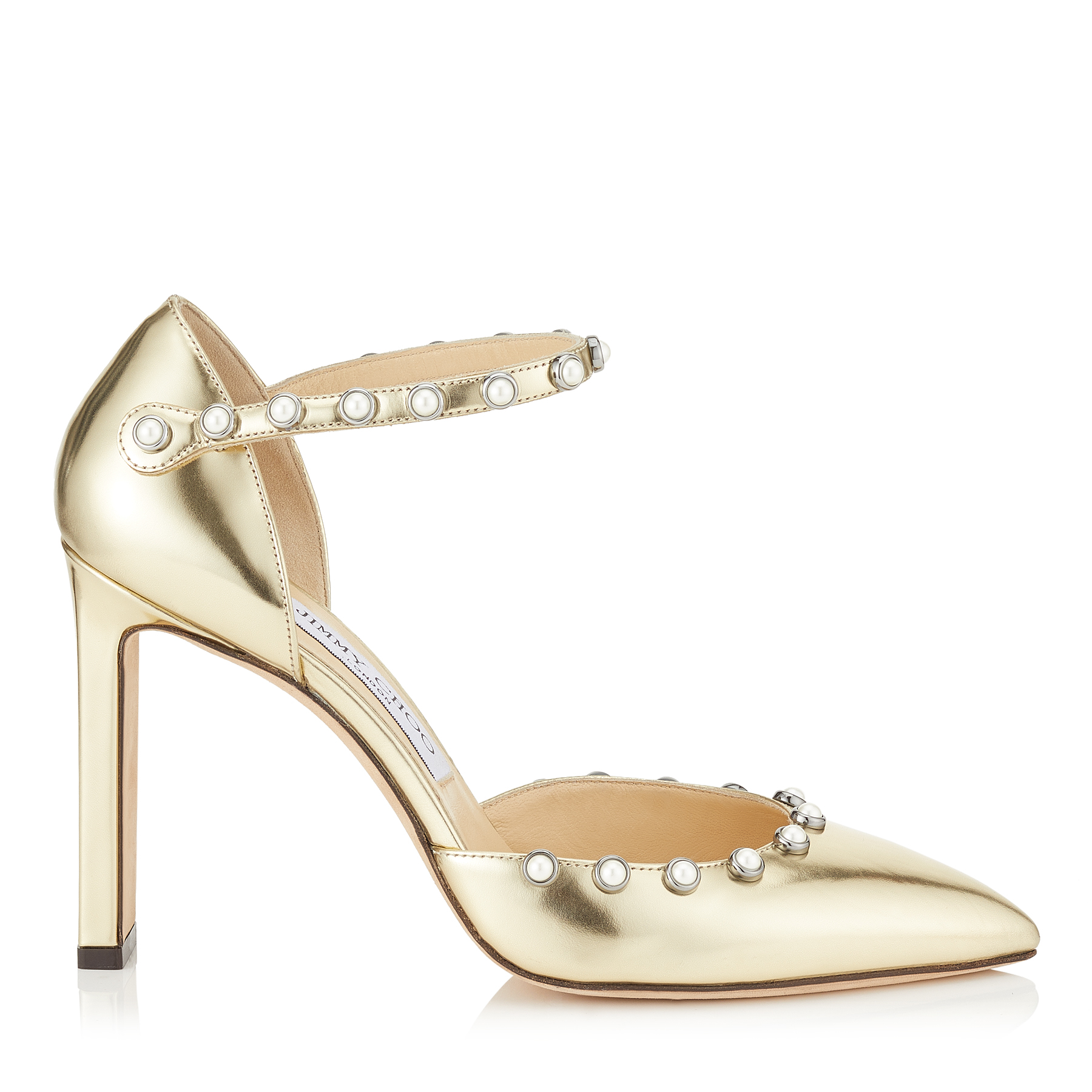 LEEMA 100 Gold Mirror Leather Pumps with Beads by Jimmy Choo
