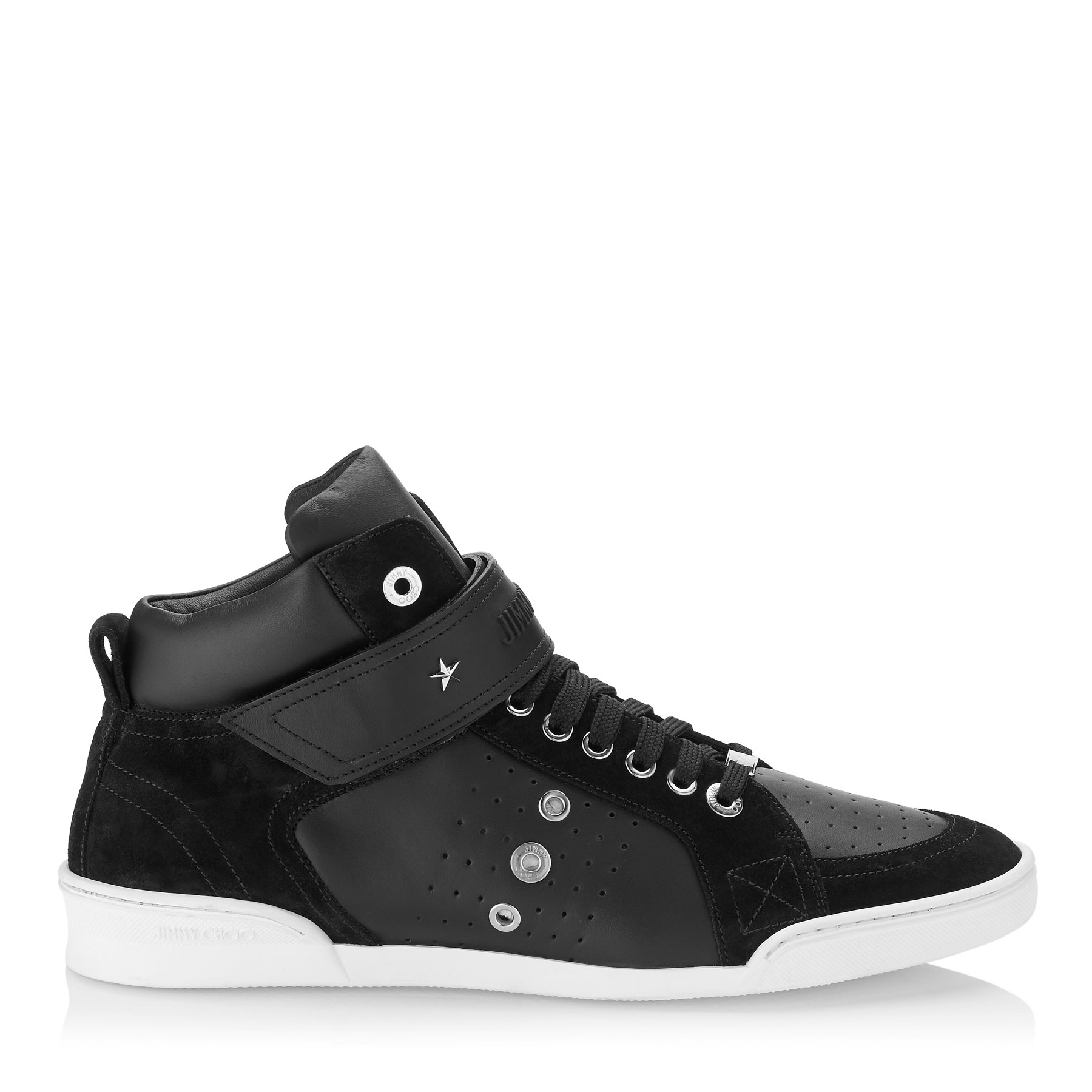 LEWIS Black Sport Calf and Suede Trainers