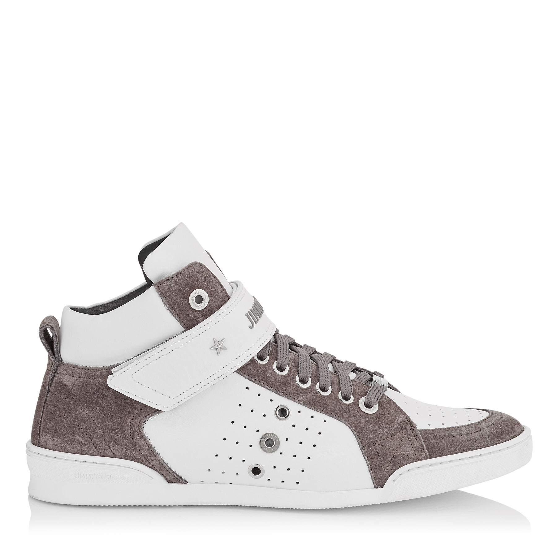 LEWIS White Sport Calf and Iron Grey Suede Trainers