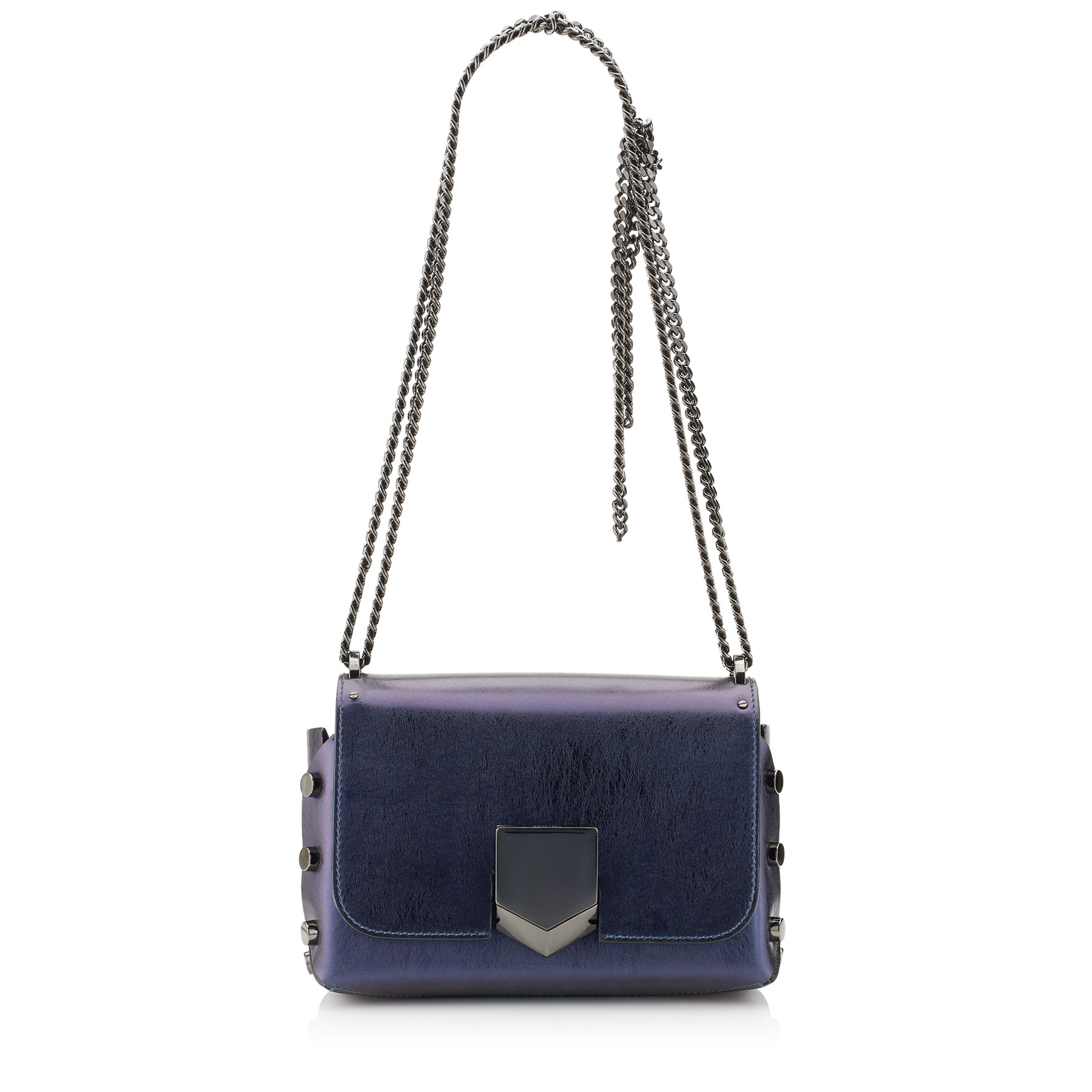 LOCKETT PETITE Navy Etched Spazzolato Leather Shoulder Bag