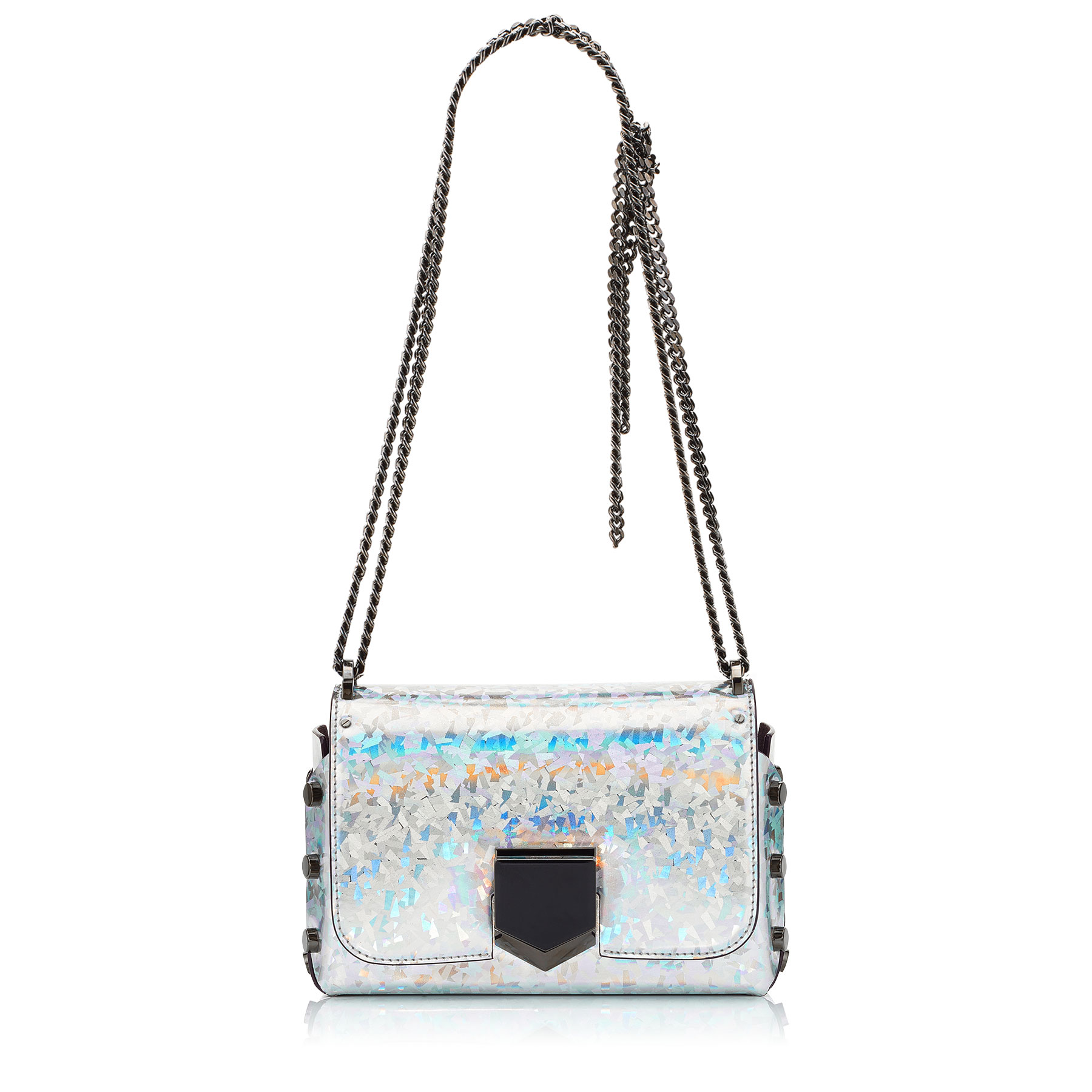 LOCKETT PETITE Silver Mix Holographic Coated Fabric Shoulder Bag