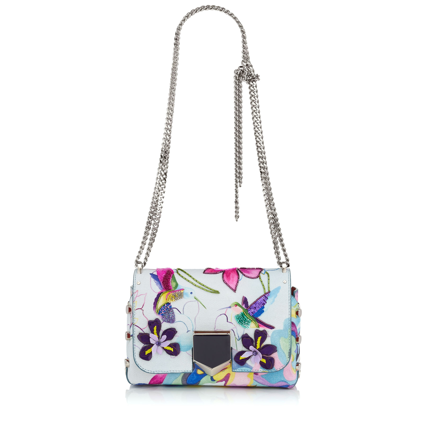 LOCKETT PETITE Hummingbird Printed Canvas with Embroidery Shoulder Bag