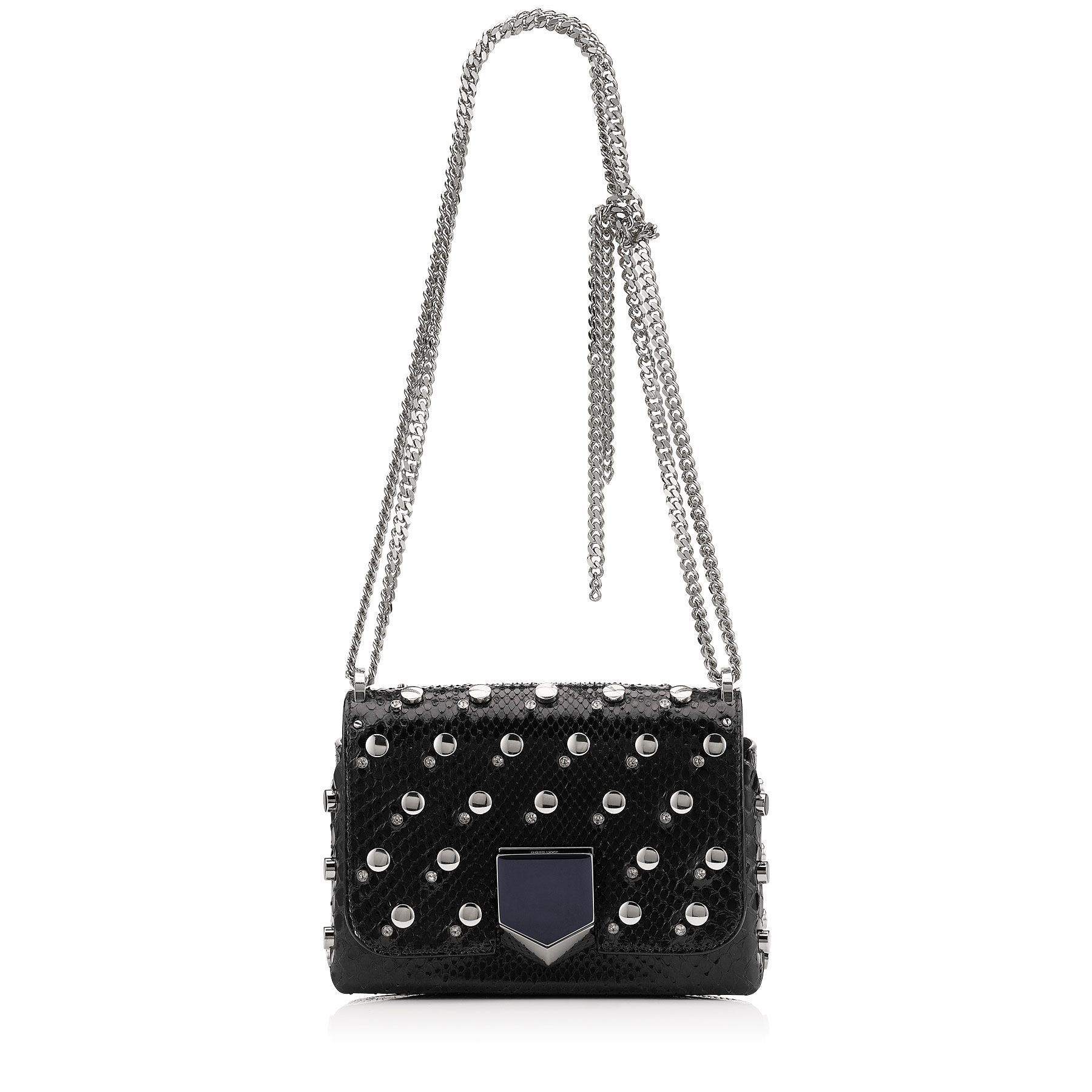 LOCKETT PETITE Black Python with Mix Studs and Crystals Shoulder Bag