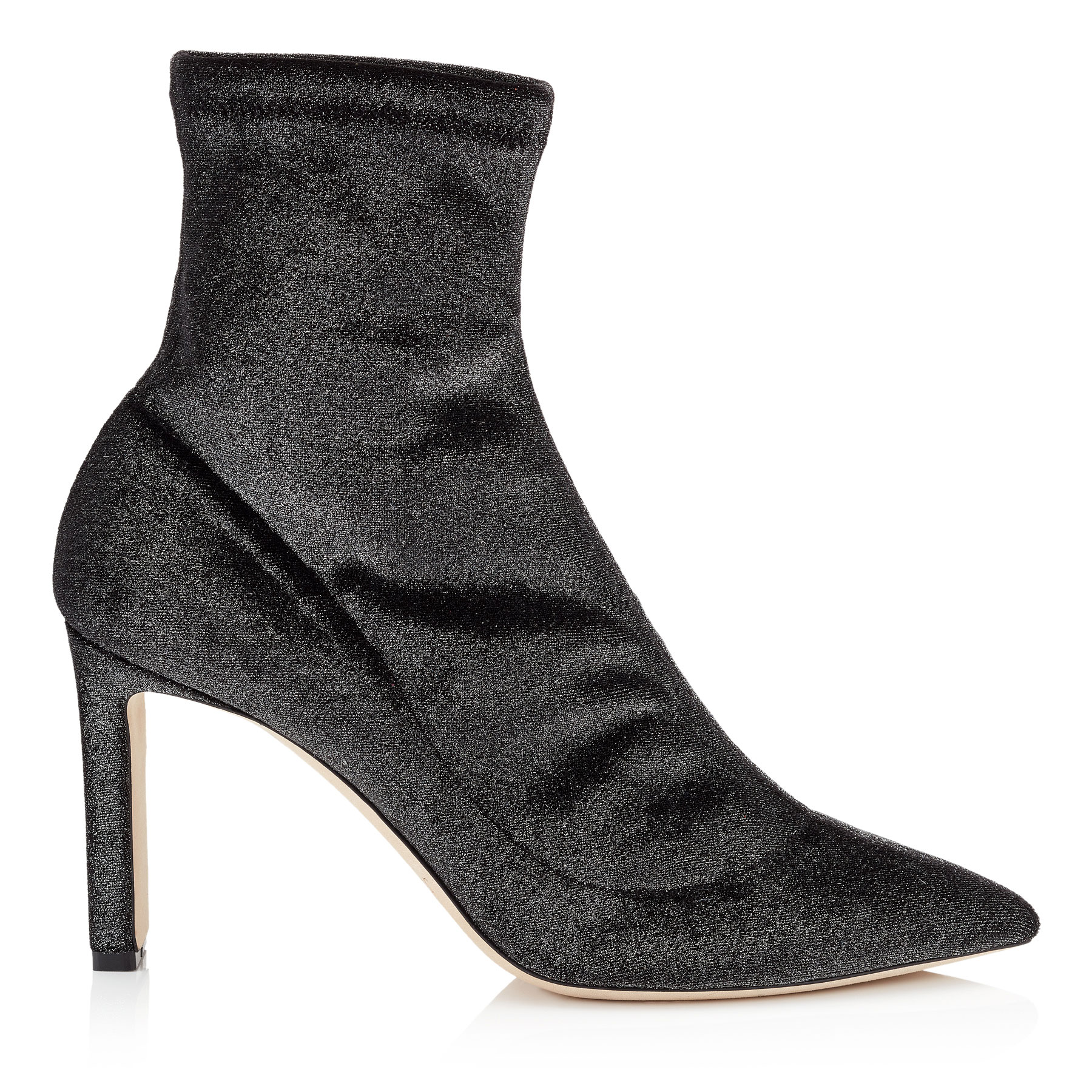 LOUELLA 85 Anthracite Stretched Metallic Velvet Boots